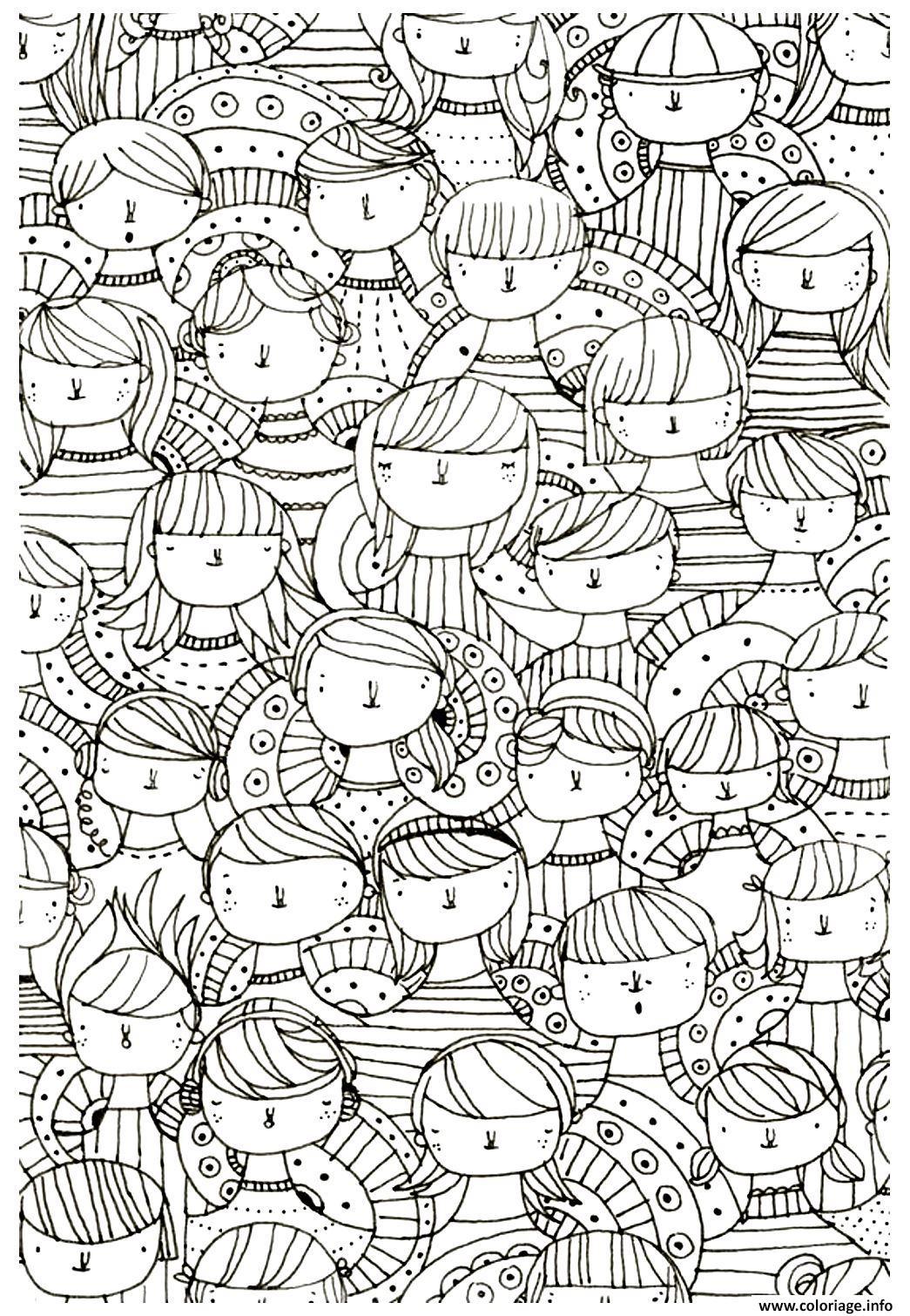 Coloriage Adulte Visages Zen Anti Stress A Imprimer Dessin destiné Image Zen A Imprimer