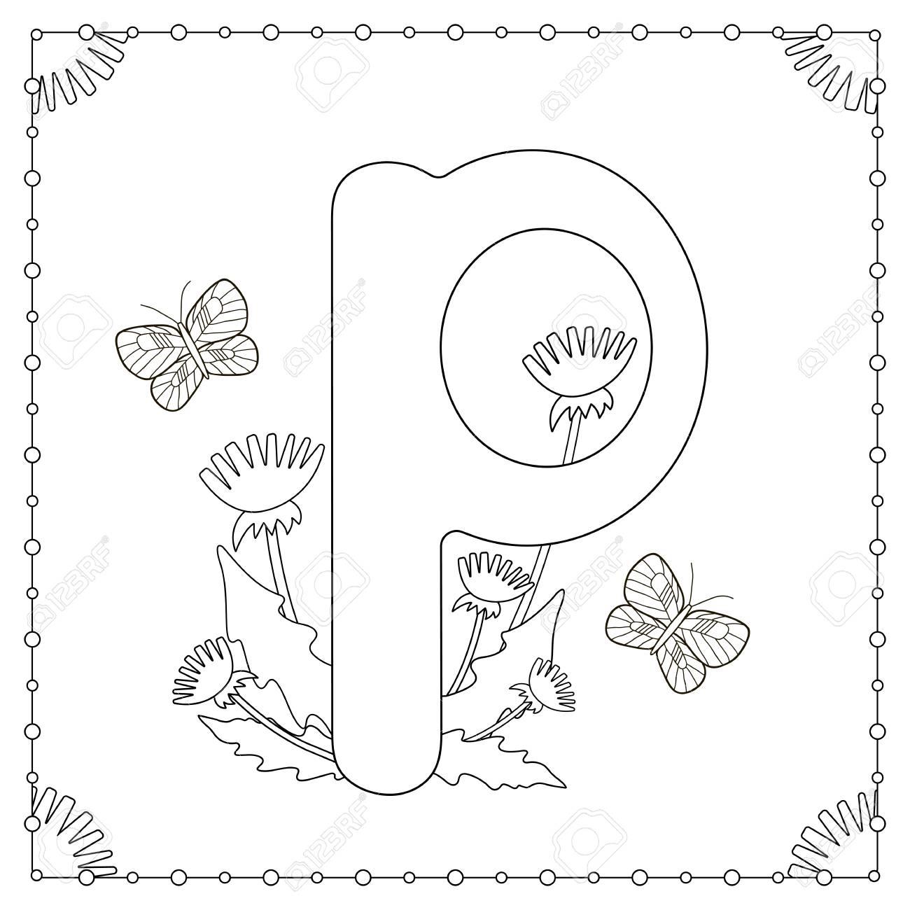 Coloriage Alphabet. Lettre Majuscule «P» Avec Des Fleurs, Des Feuilles Et  Des Papillons. avec L Alphabet En Majuscule