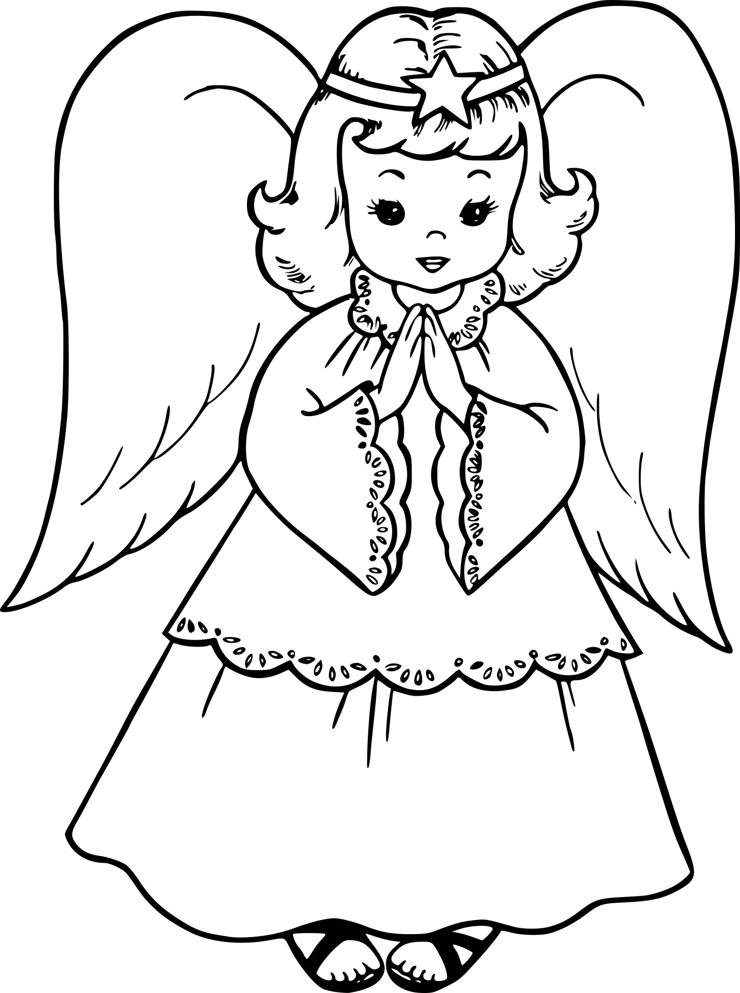 Coloriage Ange De Noel Dessin À Imprimer Sur Coloriages concernant Ange A Colorier
