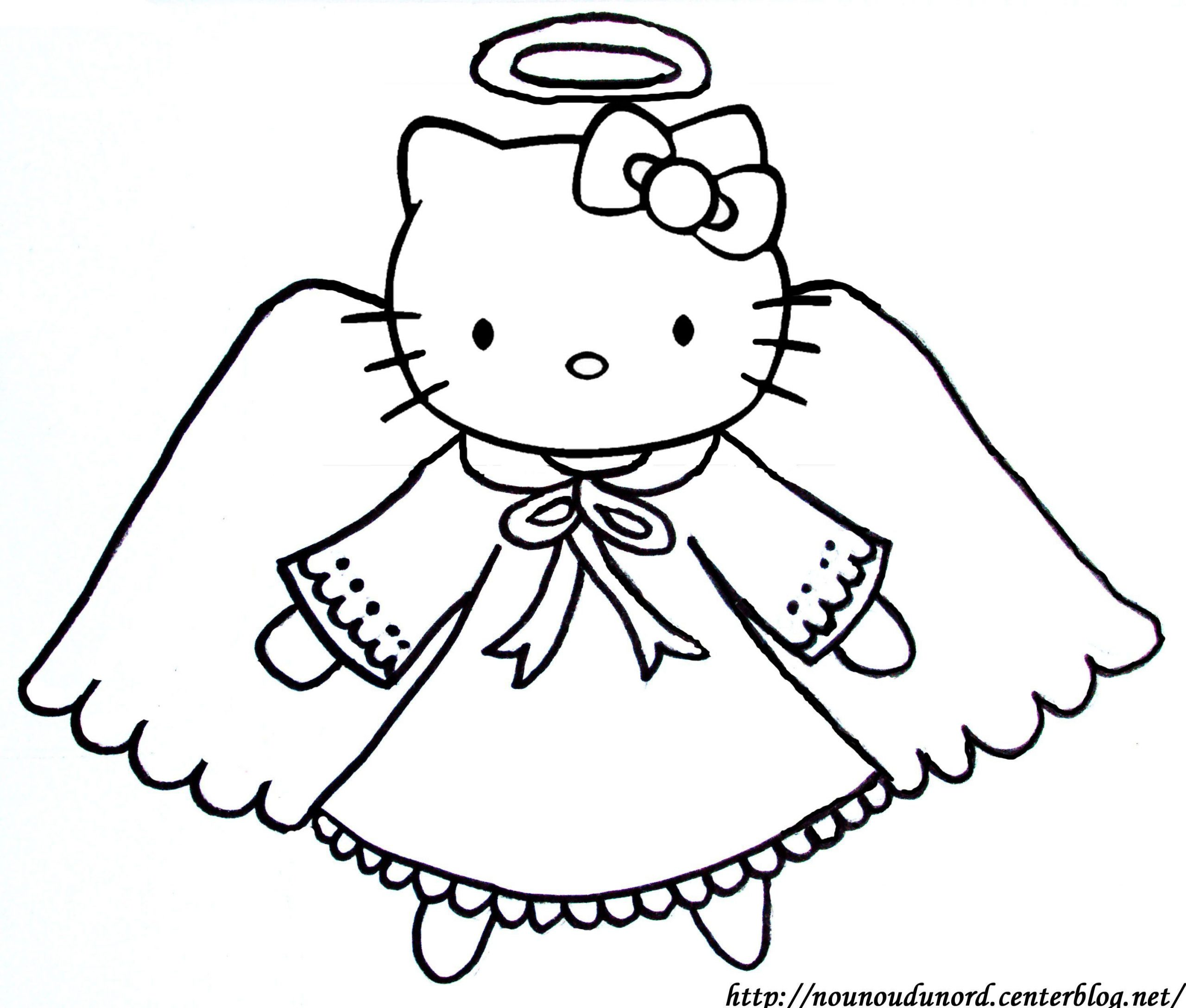 Coloriage Ange Hello Kitty concernant Ange A Colorier
