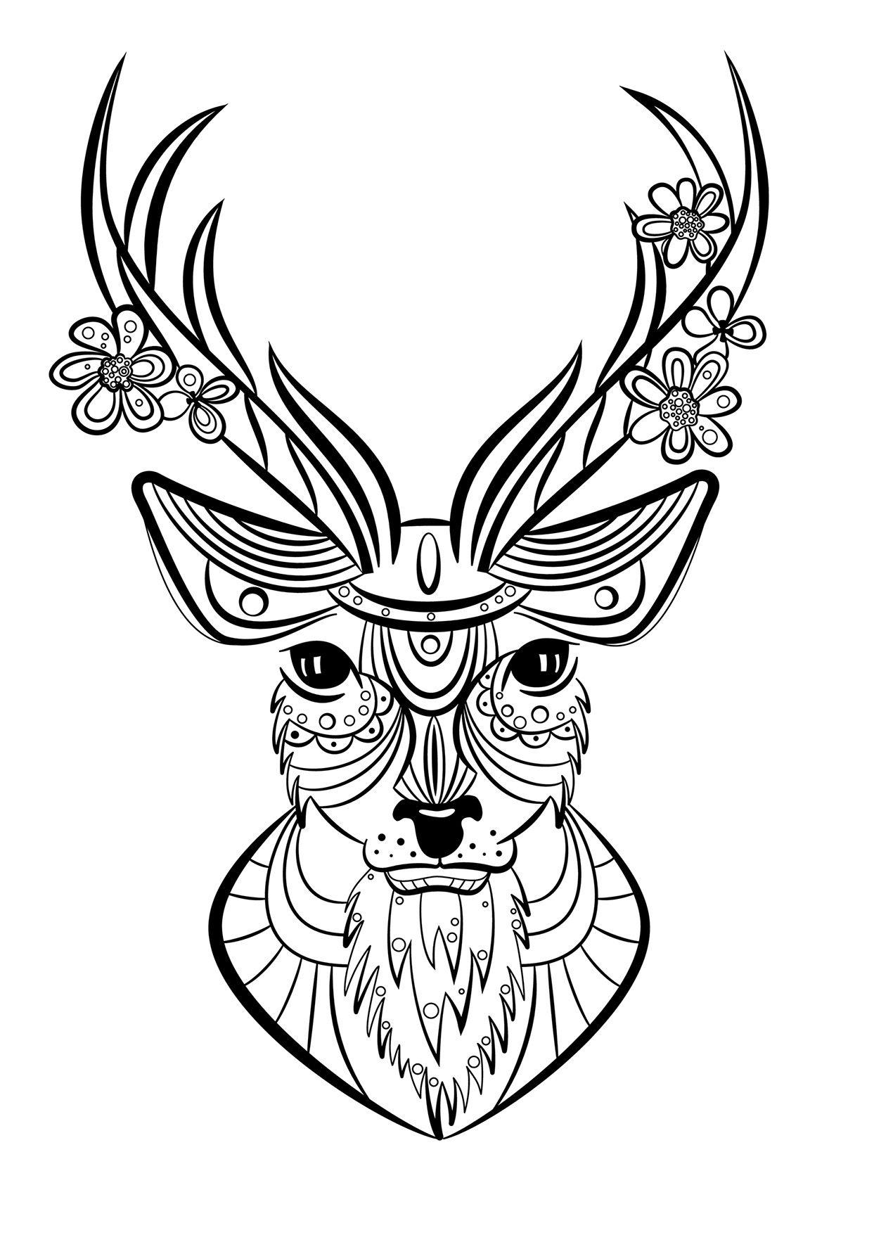 Coloriage Animaux Cerf | Mandala Animaux, Coloriage Animaux tout Mandala Facile À Imprimer