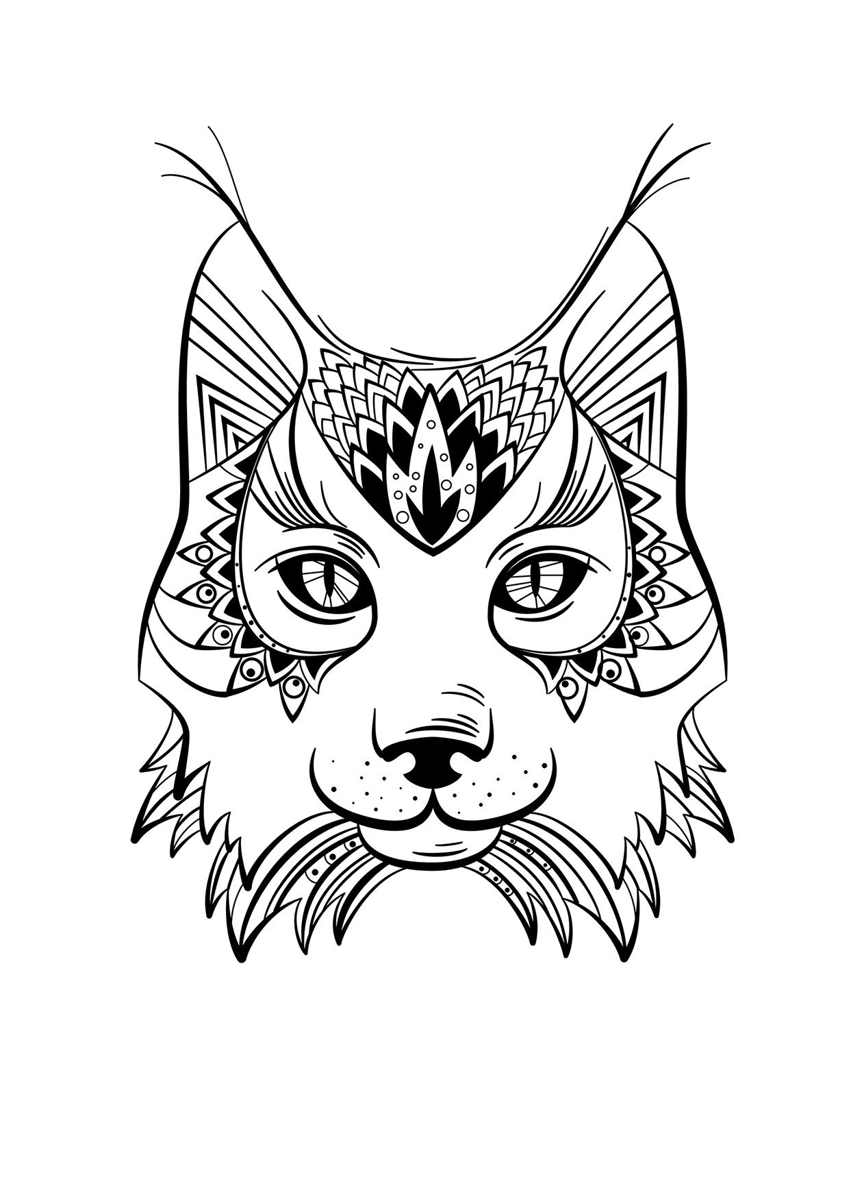 Coloriage Animaux Lynx | Coloriage Animaux, Mandala Animaux pour Mandala Facile À Imprimer