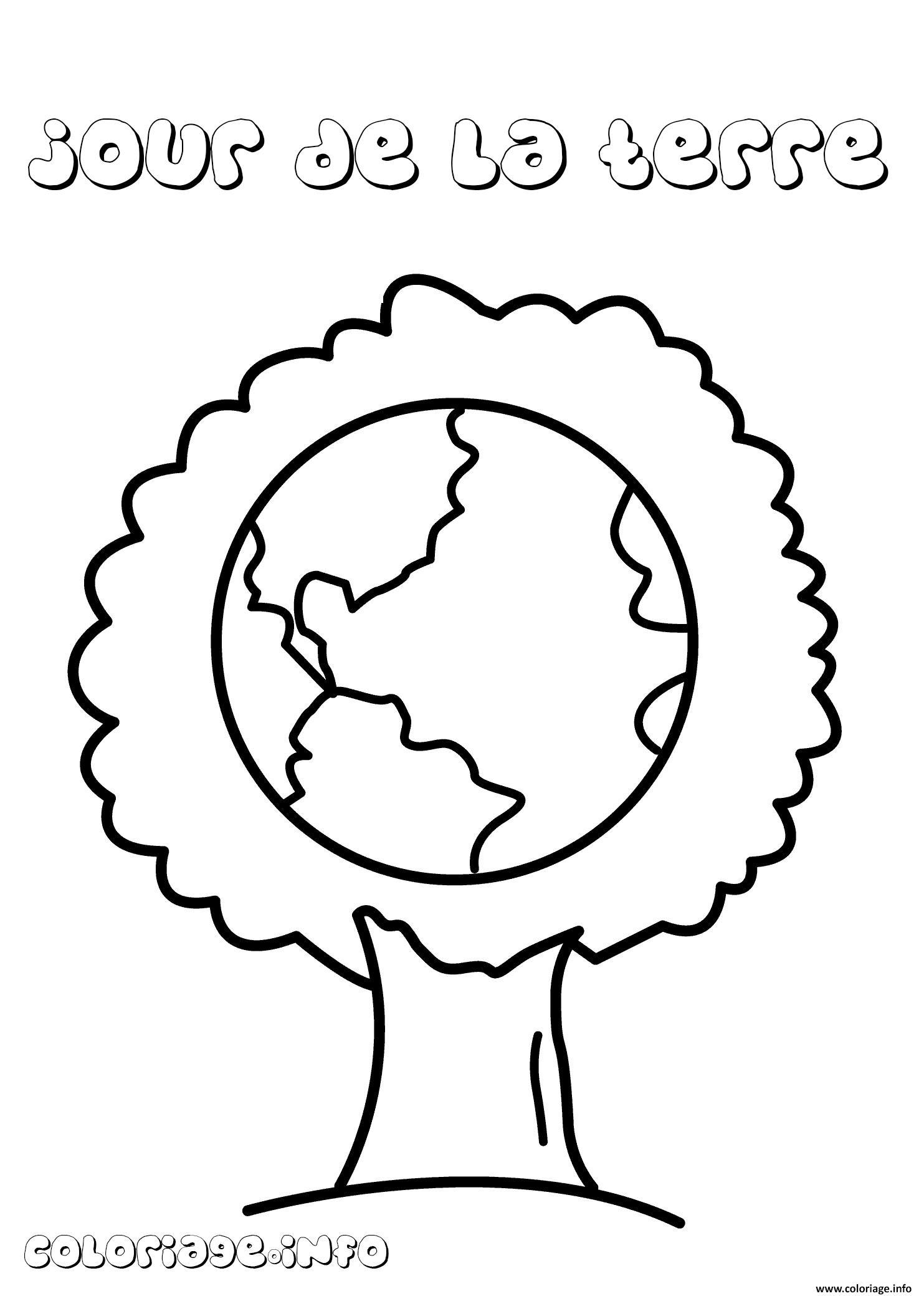 Coloriage Arbre Jour De La Terre Dessin concernant Image De La Terre Dessin