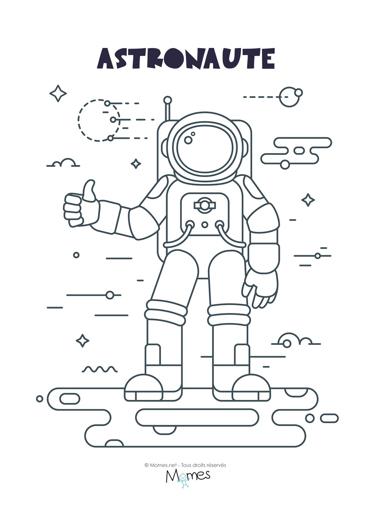 Coloriage Astronaute - Momes serapportantà Coloriage Astronaute