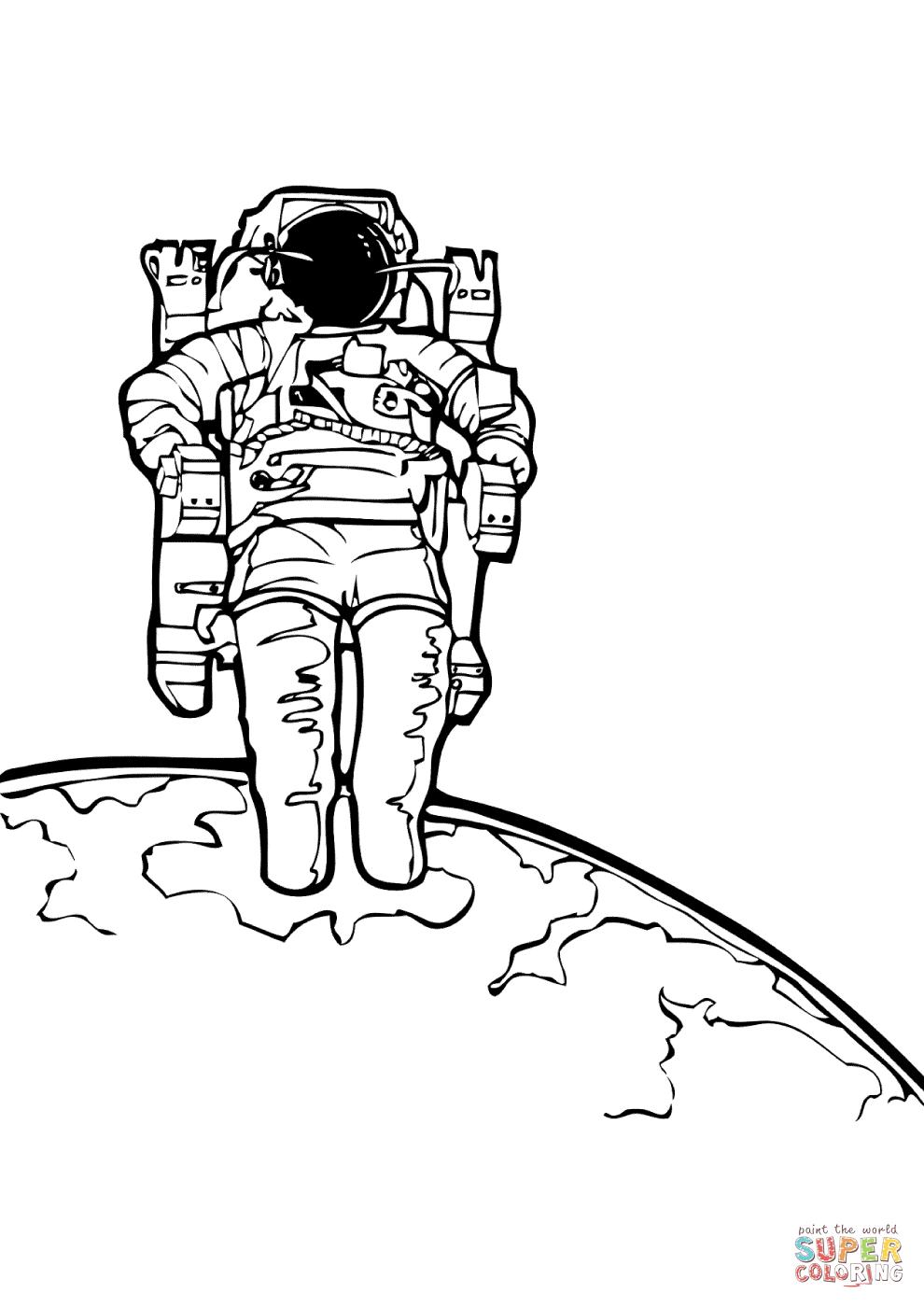 Coloriage - Astronaute Sur Une Autre Planète | Coloriages À à Coloriage Astronaute