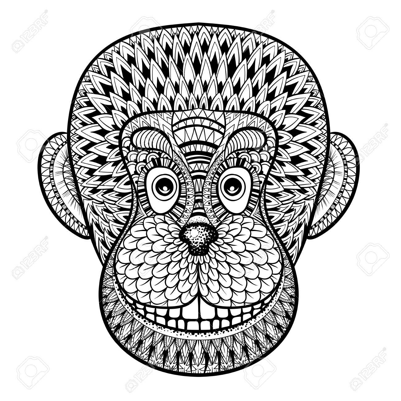 Coloriage Avec Tête De Singe, Gorille, Illustration Zentangle Pour Adultes  Anti-Stress Coloriage Livres Ou Conception De Uage Avec Des Détails encequiconcerne Coloriage Gorille