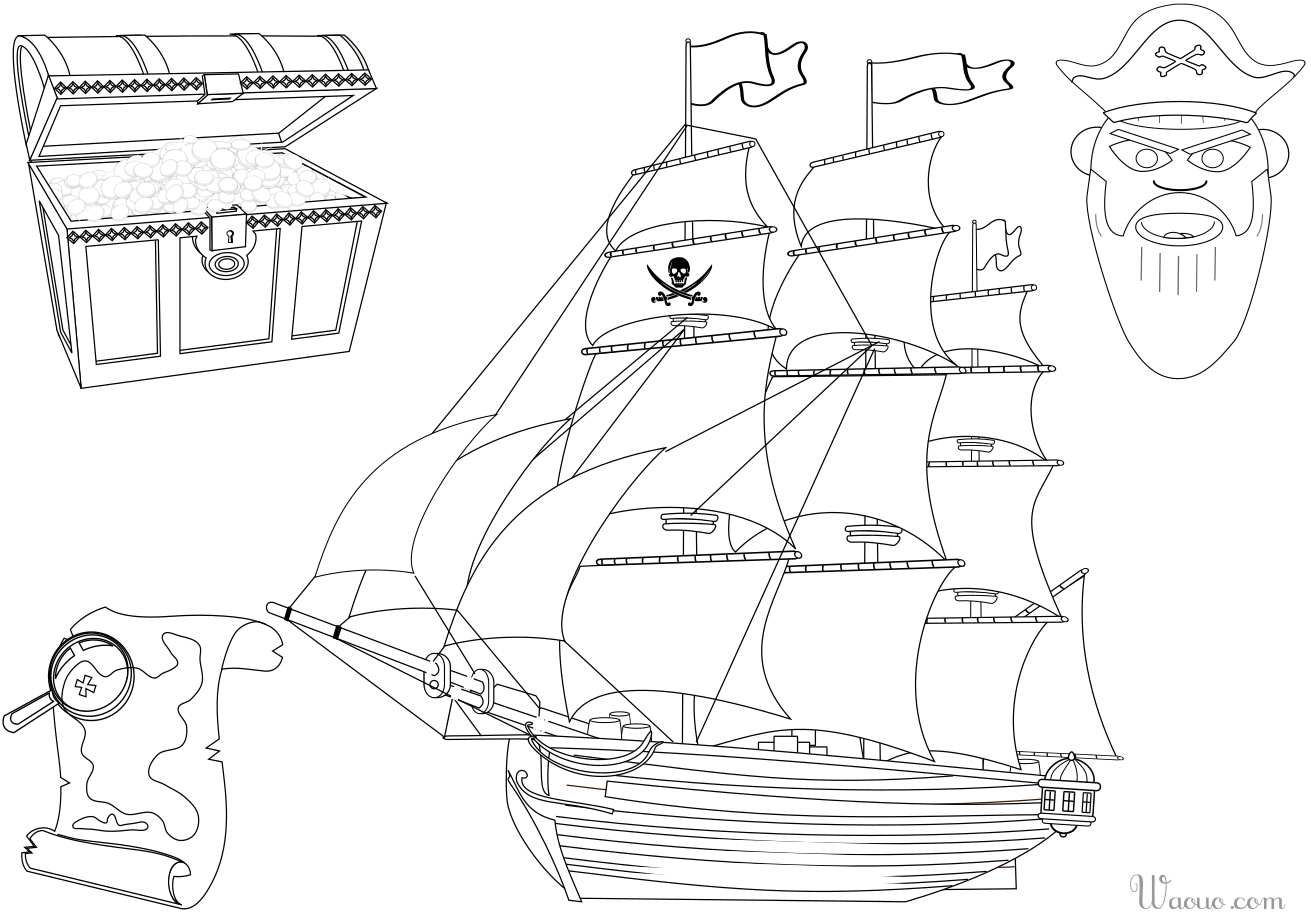 Coloriage Bateau Et Trésor De Pirate À Imprimer Et Colorier serapportantà Dessin A Imprimer De Pirate