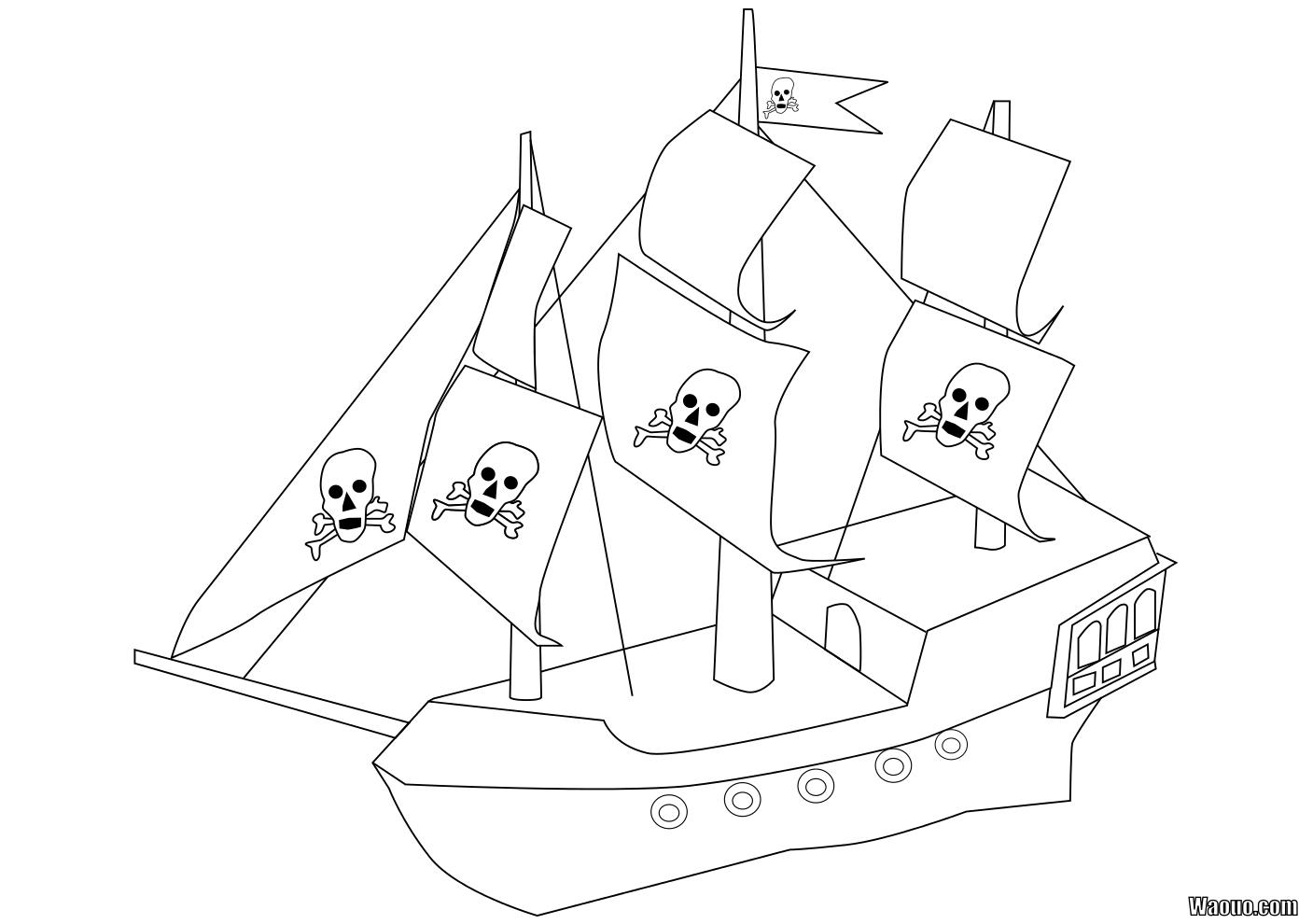 Coloriage Bateau Pirate À Imprimer Et Colorier concernant Dessin A Imprimer De Pirate