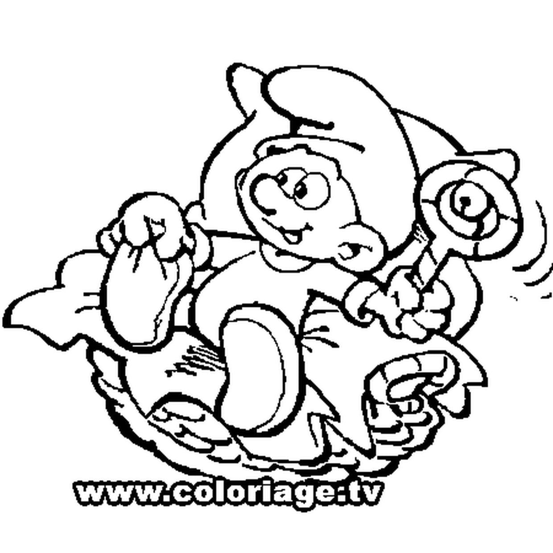 Coloriage Bébé Schtroumpf En Ligne Gratuit À Imprimer destiné Schtroumpf À Colorier