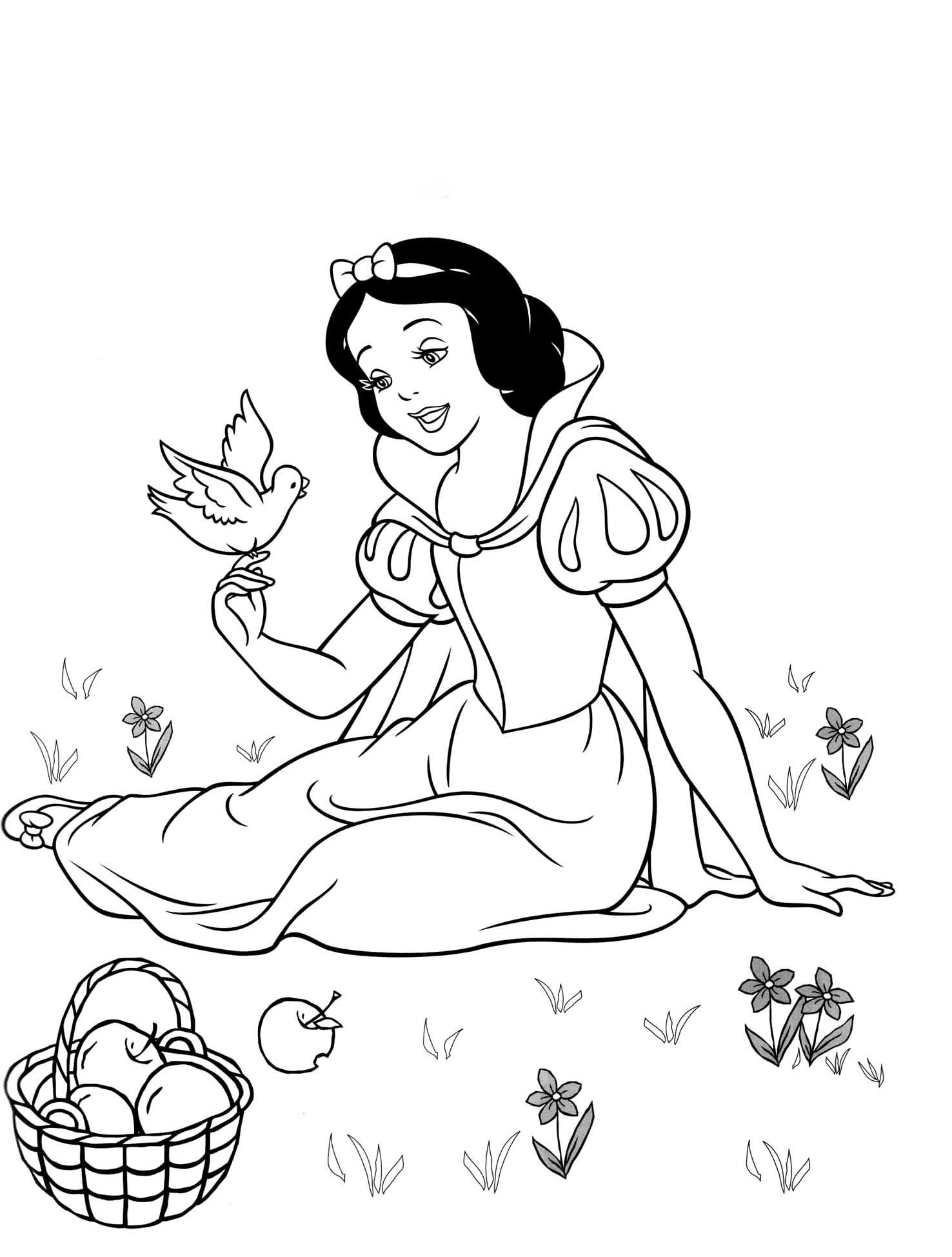 Coloriage Blanche-Neige Disney À Imprimer concernant Blanche Neige À Colorier Et Imprimer