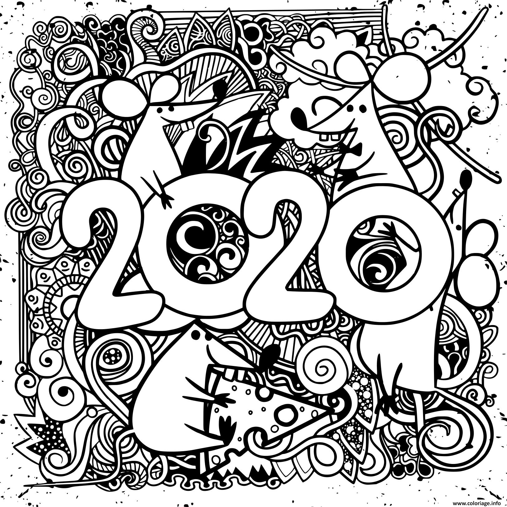Coloriage Bonne Annee 2020 Dessin pour Dessin À Découper