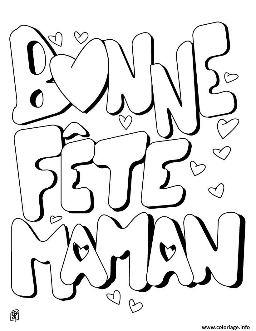 Coloriage Bonne Fete Maman Fete Des Meres Dessin à Carte Bonne Fete Maman Imprimer