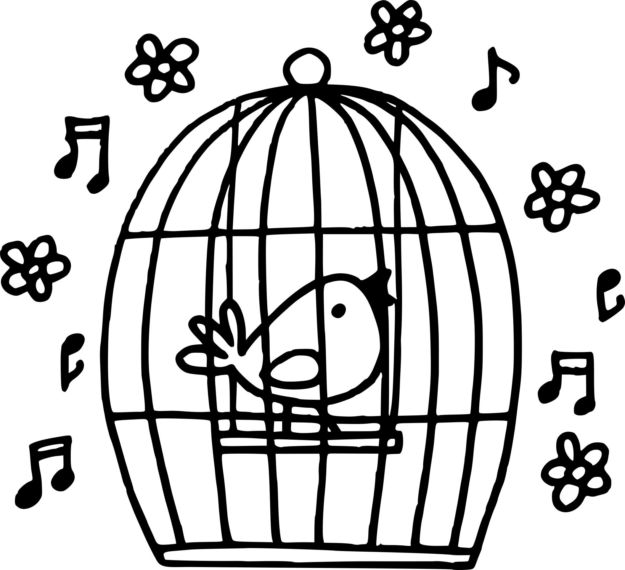 Coloriage Cage À Oiseaux A Imprimer tout Dessin De Cage D Oiseau
