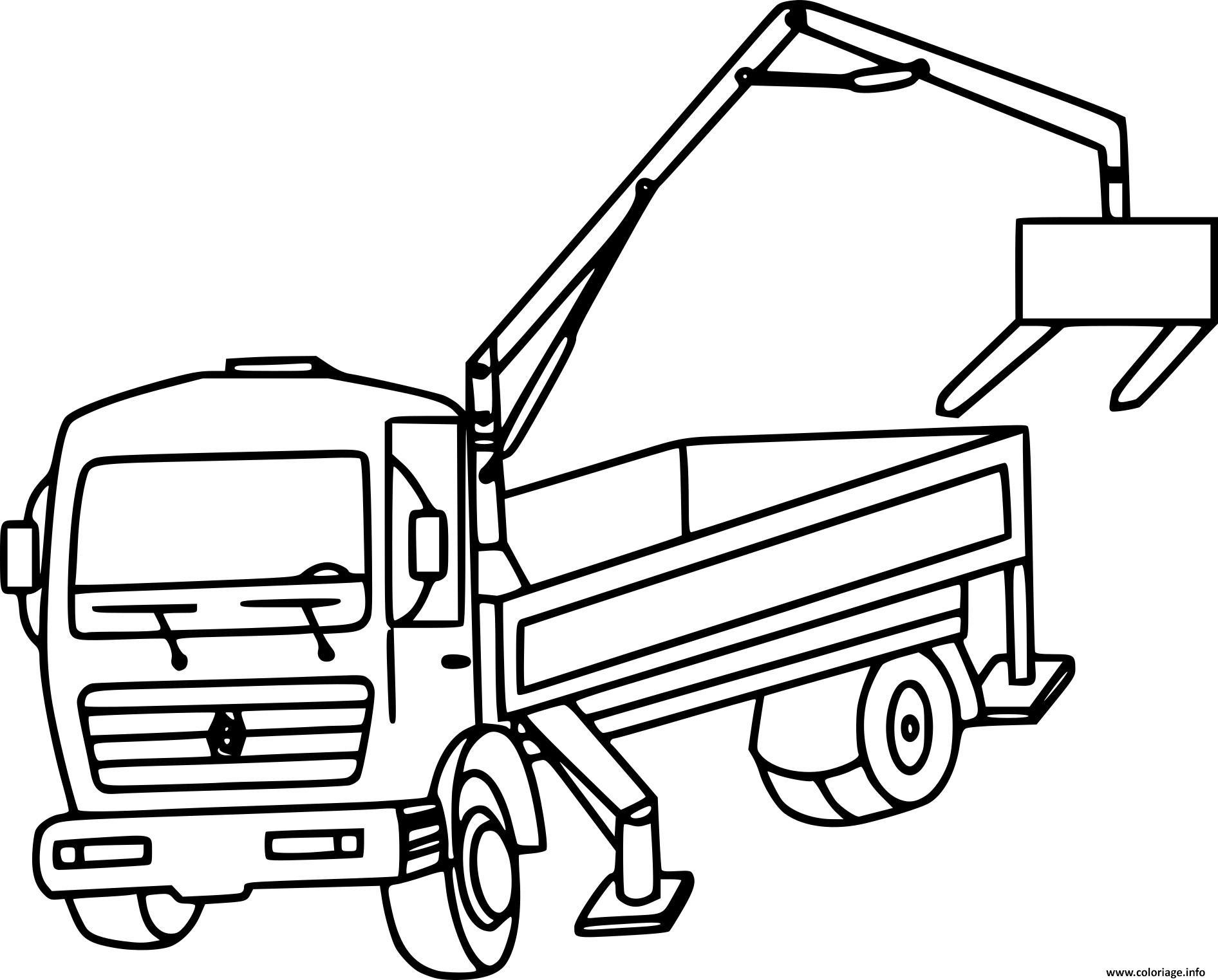 Coloriage Camion Grue Appareil De Levage Dessin à Dessin D Un Camion