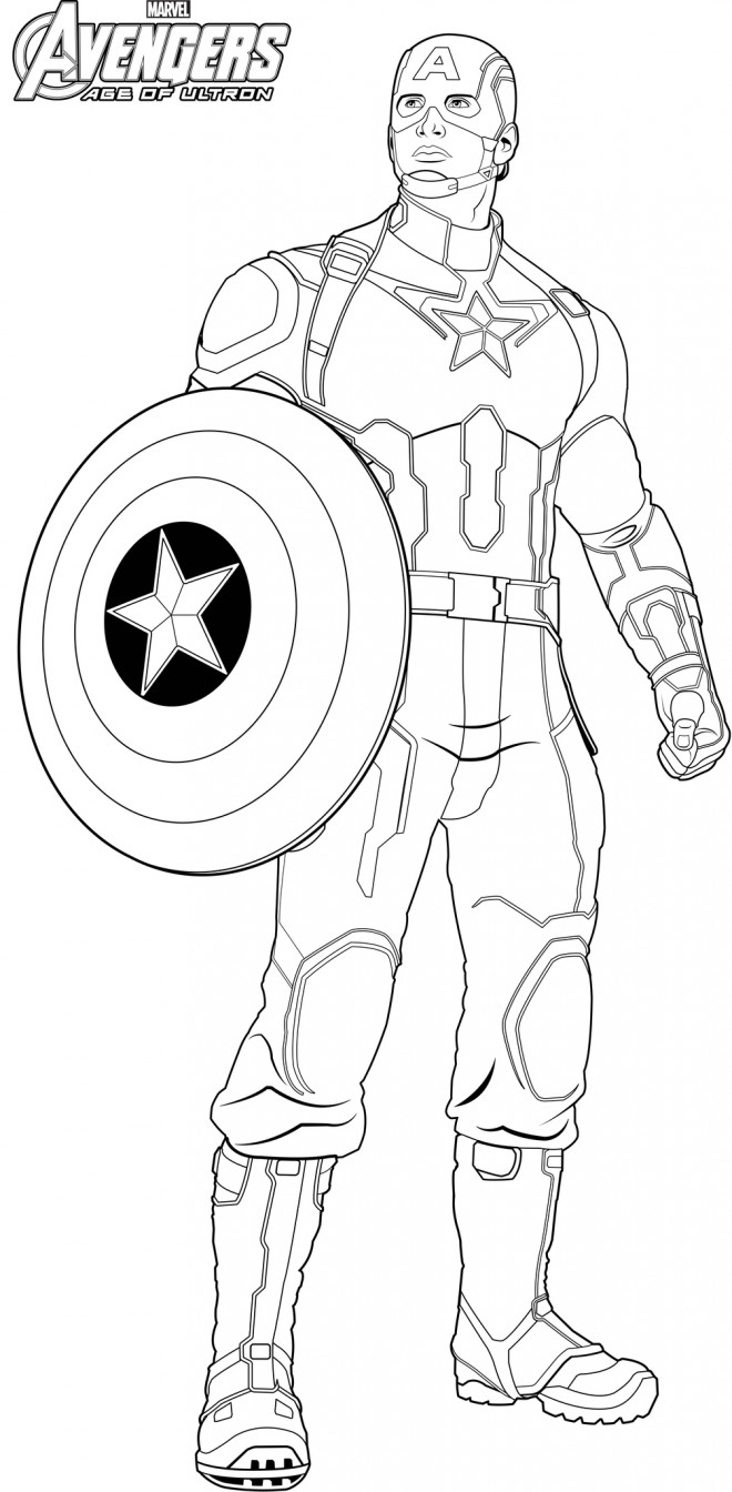 Coloriage Captain America Avengers Age Of Ultron Dessin serapportantà Dessin A Decouper Et A Imprimer