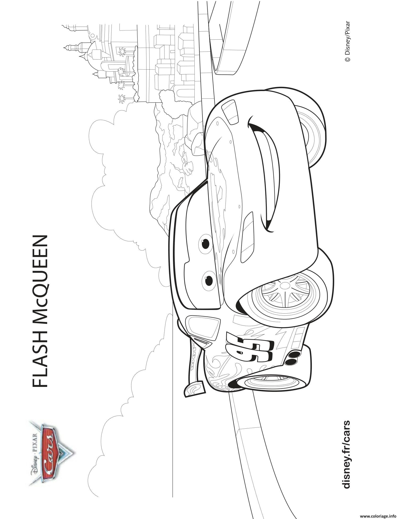 Coloriage Cars Flash Mcqueen Confiant Dessin à Coloriage De Flash Mcqueen