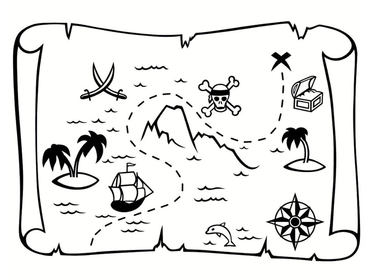 Coloriage Carte Au Trésor : Dessins À Imprimer Gratuitement serapportantà Dessin A Imprimer De Pirate