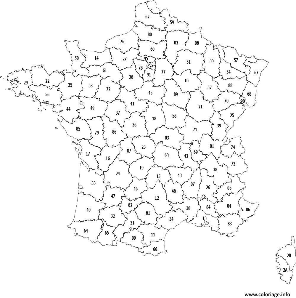 Coloriage Carte Des Departements De France Dessin tout Carte De France Région Vierge