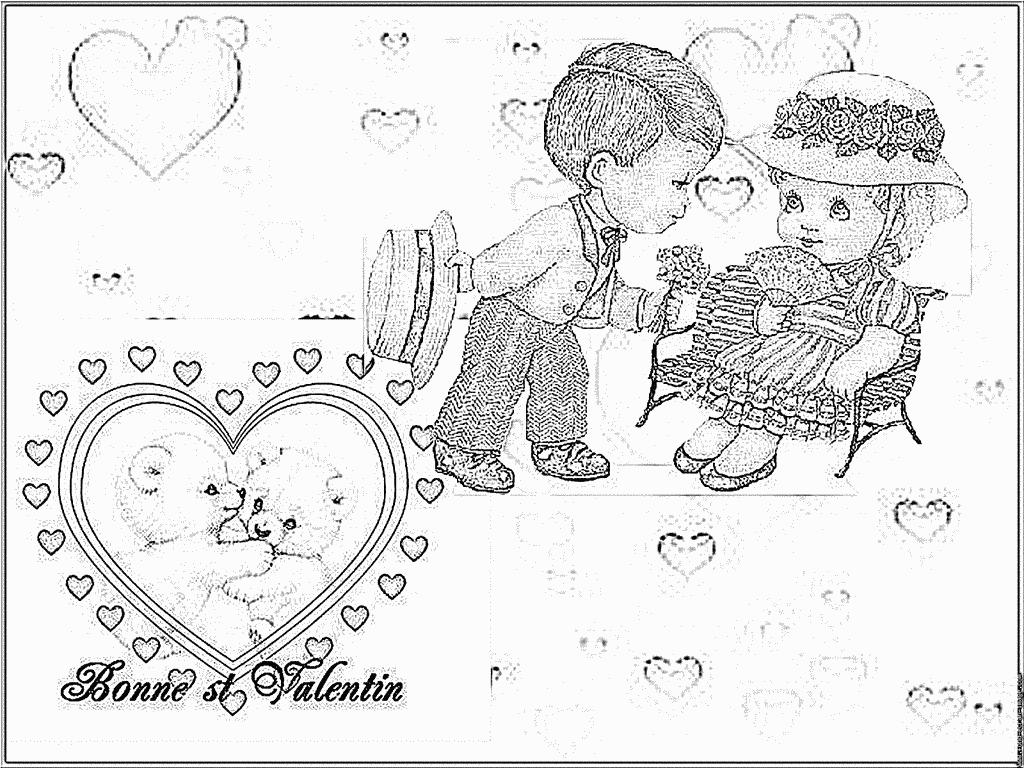 Coloriage Carte St Valentin 1 À Imprimer Pour Les Enfants concernant Dessin Pour La Saint Valentin