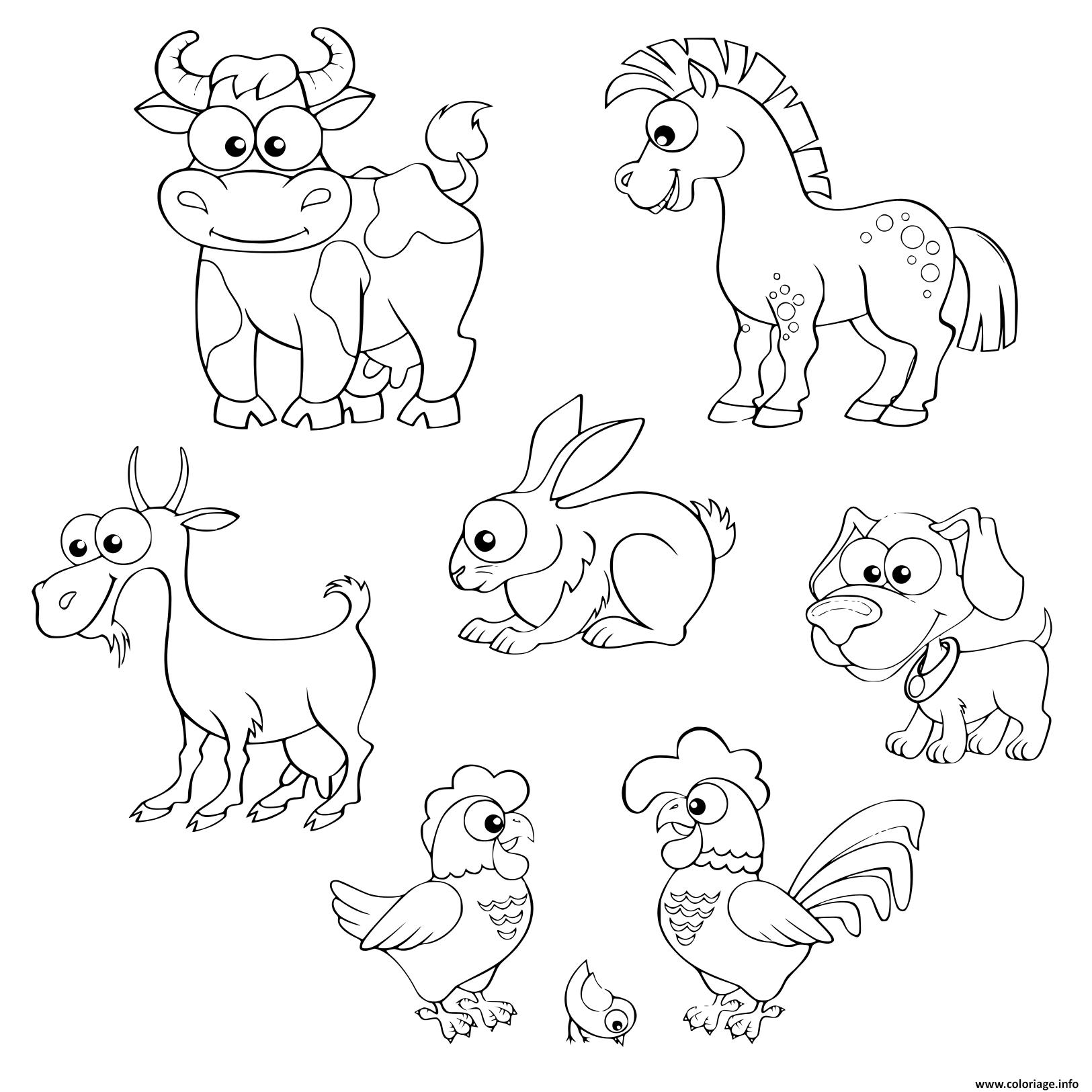 Coloriage Cartoon Ferme Animaux Cheval Vache Chevre Lapin encequiconcerne Dessin Animaux De La Ferme À Imprimer