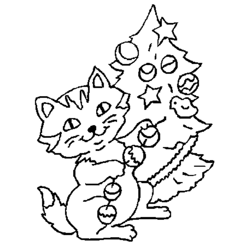 Coloriage Chat De Noël En Ligne Gratuit À Imprimer encequiconcerne Coloriage De Chat De Noel