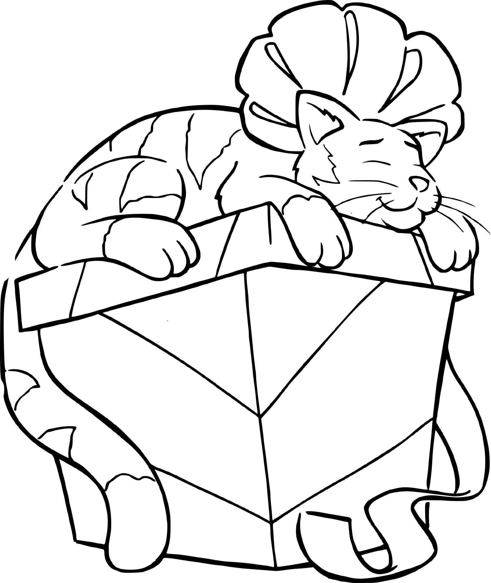 Coloriage Chat Dort Sur Un Cadeau De Noel À Imprimer serapportantà Coloriage De Chat De Noel