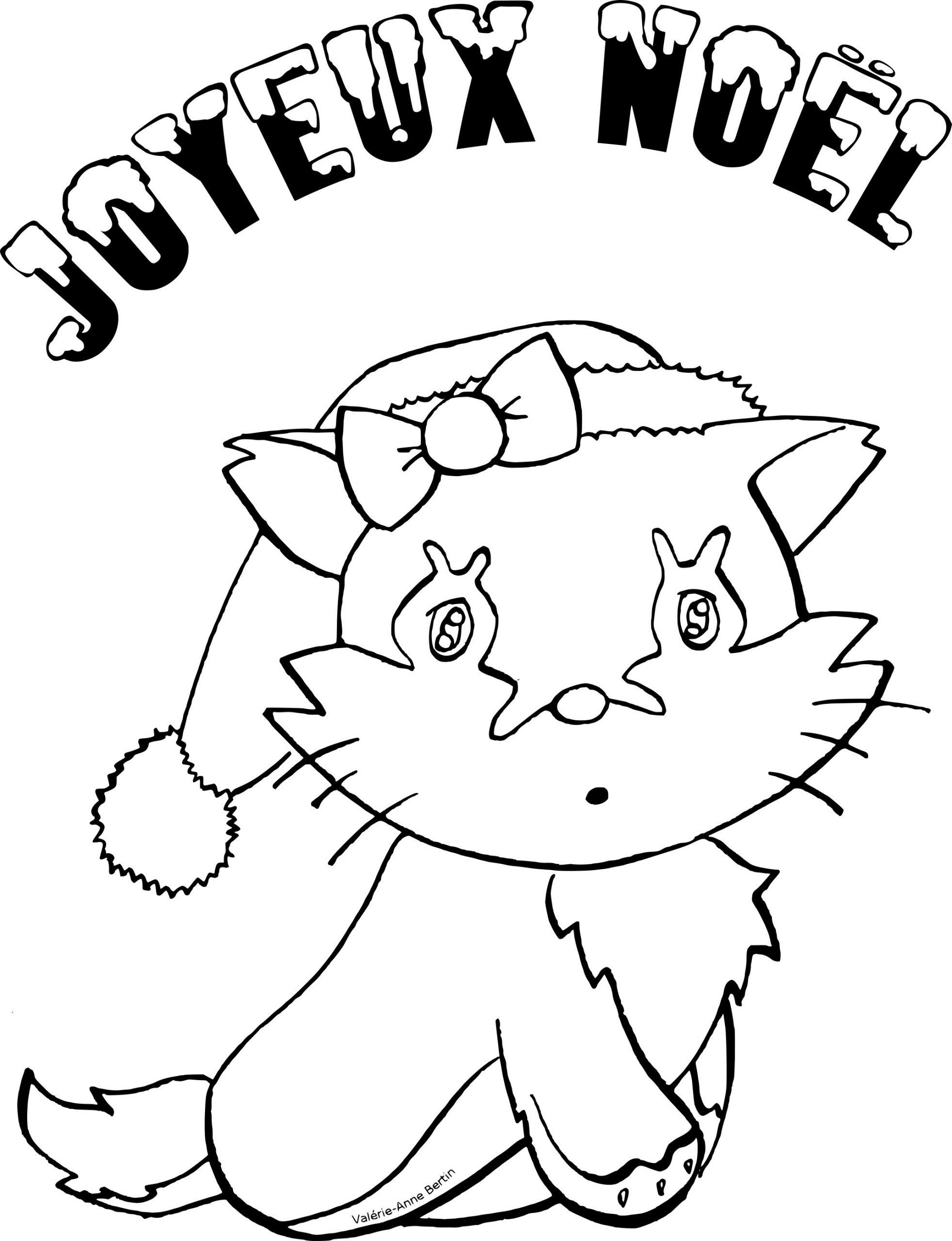 Coloriage Chat Pour Noel À Imprimer Sur Coloriages destiné Coloriage De Chat De Noel