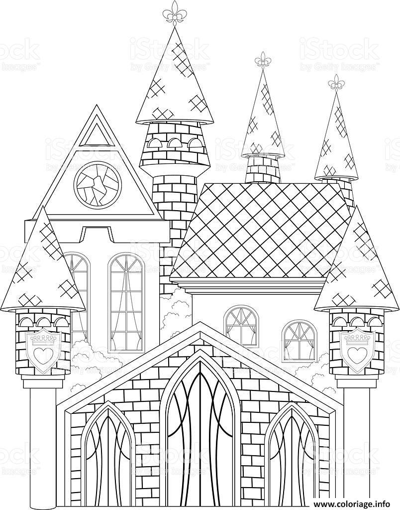 Coloriage Chateau De Princesse Dessin dedans Coloriage À Imprimer Chateau De Princesse
