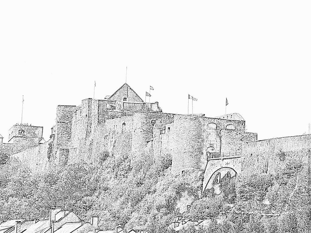 Coloriage Chateau Fort De Bouillon Belgique À Imprimer Pour destiné Image De Chateau Fort A Imprimer