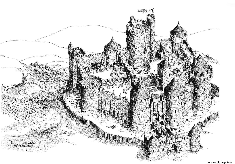 Coloriage Chateau Fort Du Moyen Age Dessin serapportantà Image De Chateau Fort A Imprimer
