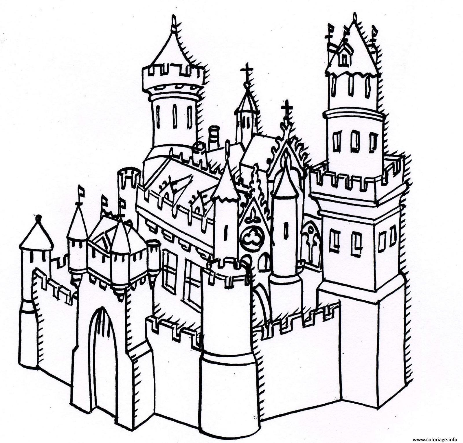 Coloriage Chateau Forteresse Dessin tout Coloriage À Imprimer Chateau De Princesse