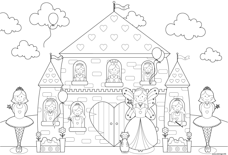 Coloriage Chateau Princesses Toute La Famille De Princesse à Chateau De Princesse Dessin