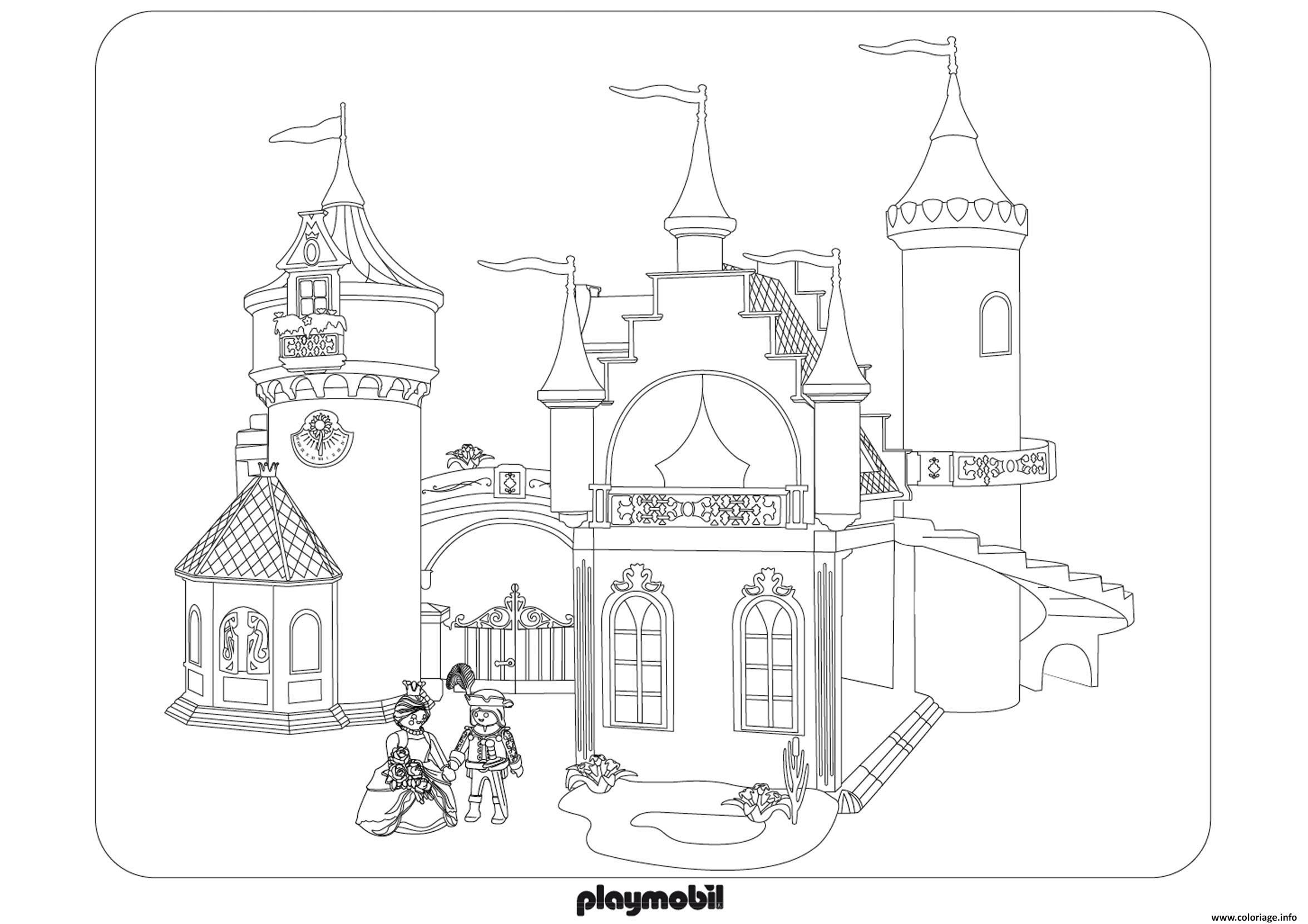 Coloriage Chateau Roi Reine Princesse Playmobil Dessin pour Chateau Princesse Dessin