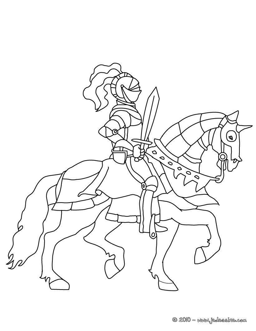 Coloriage : Chevalier Avec Son Épée Sur Son Cheval avec Coloriage D Épée