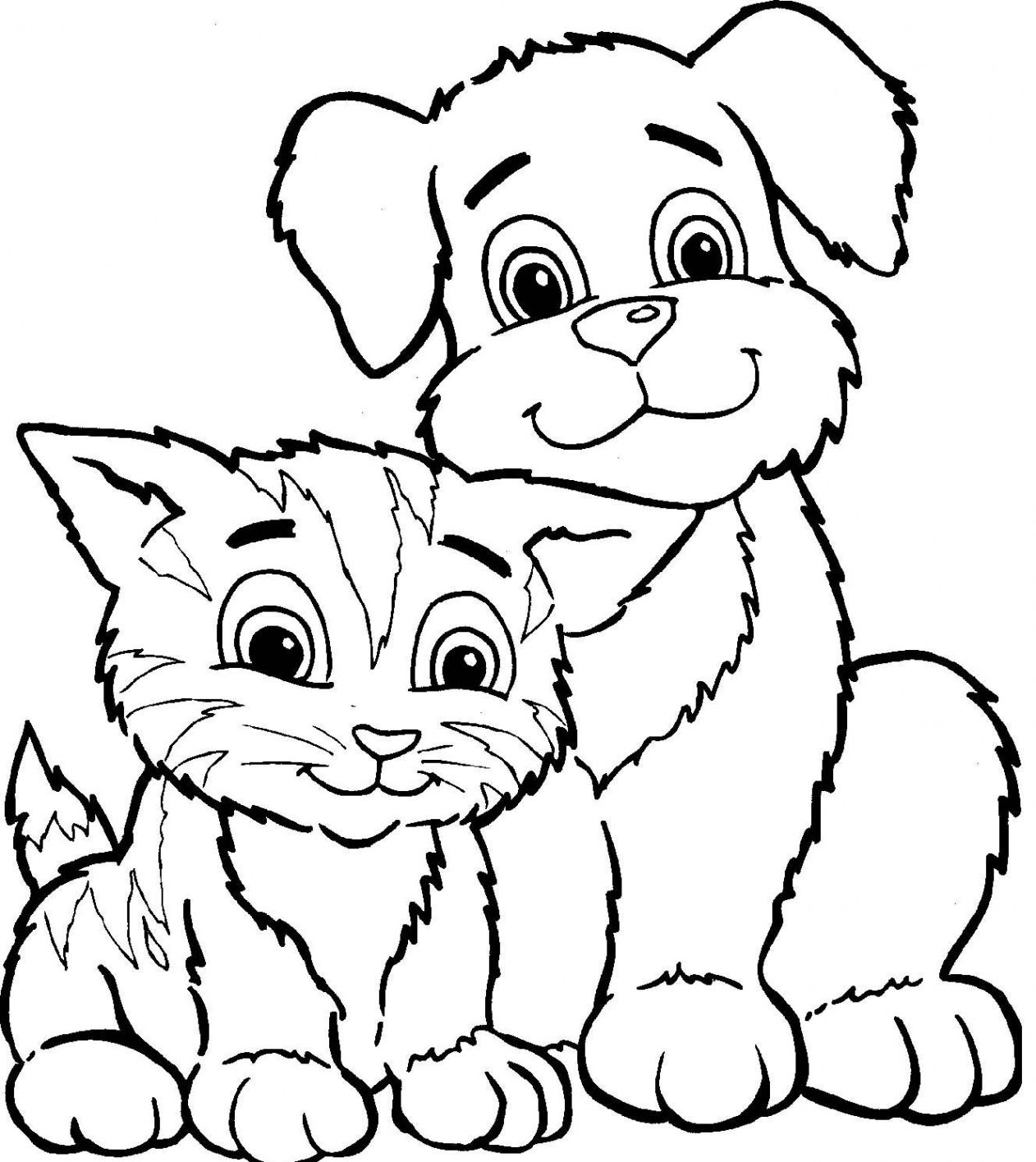 Coloriage Chien Et Chat A Imprimer destiné Coloriage De Chiot A Imprimer