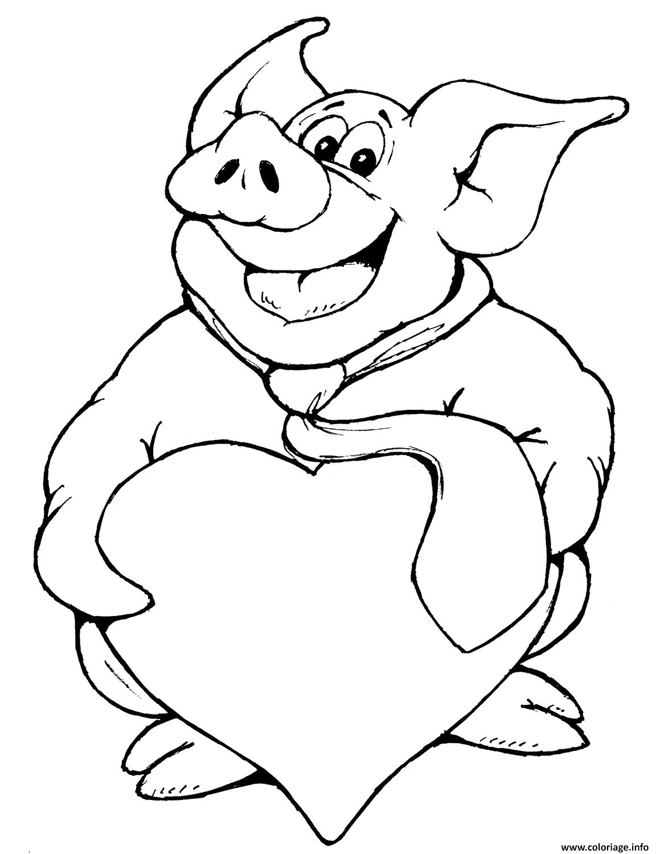 Coloriage Cochon Avec Coeur Dessin à Dessin A Colorier Cochon