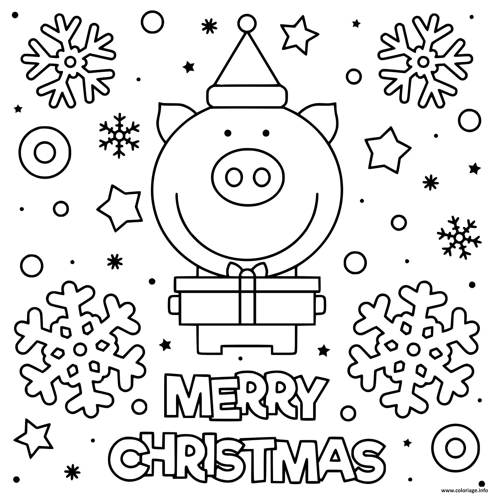 Coloriage Cochon Mignon Qui Souhaite Joyeux Noel Dessin encequiconcerne Dessin A Colorier Cochon