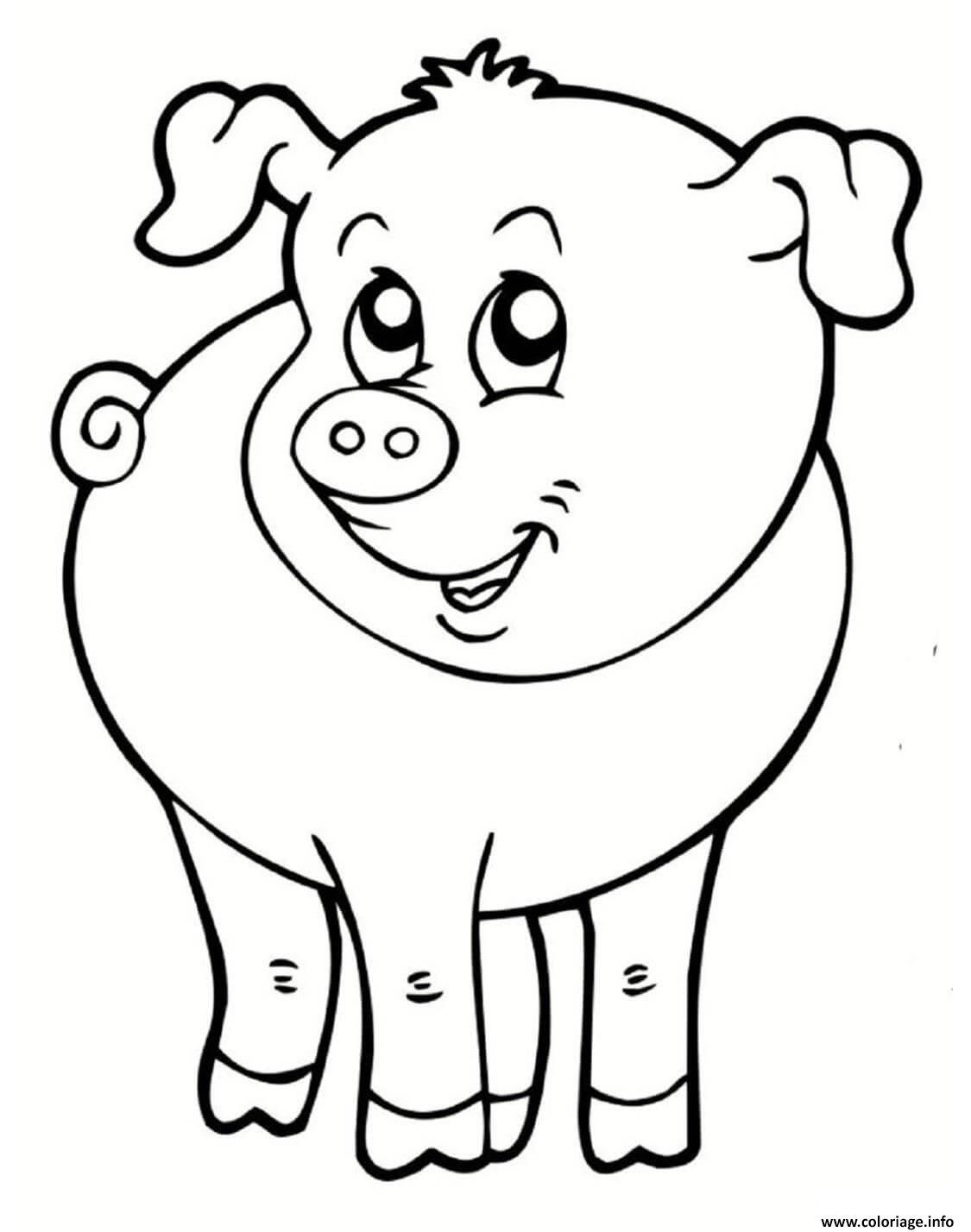 Coloriage Cochon Souriant Animal De La Ferme Dessin intérieur Dessin Animaux De La Ferme À Imprimer