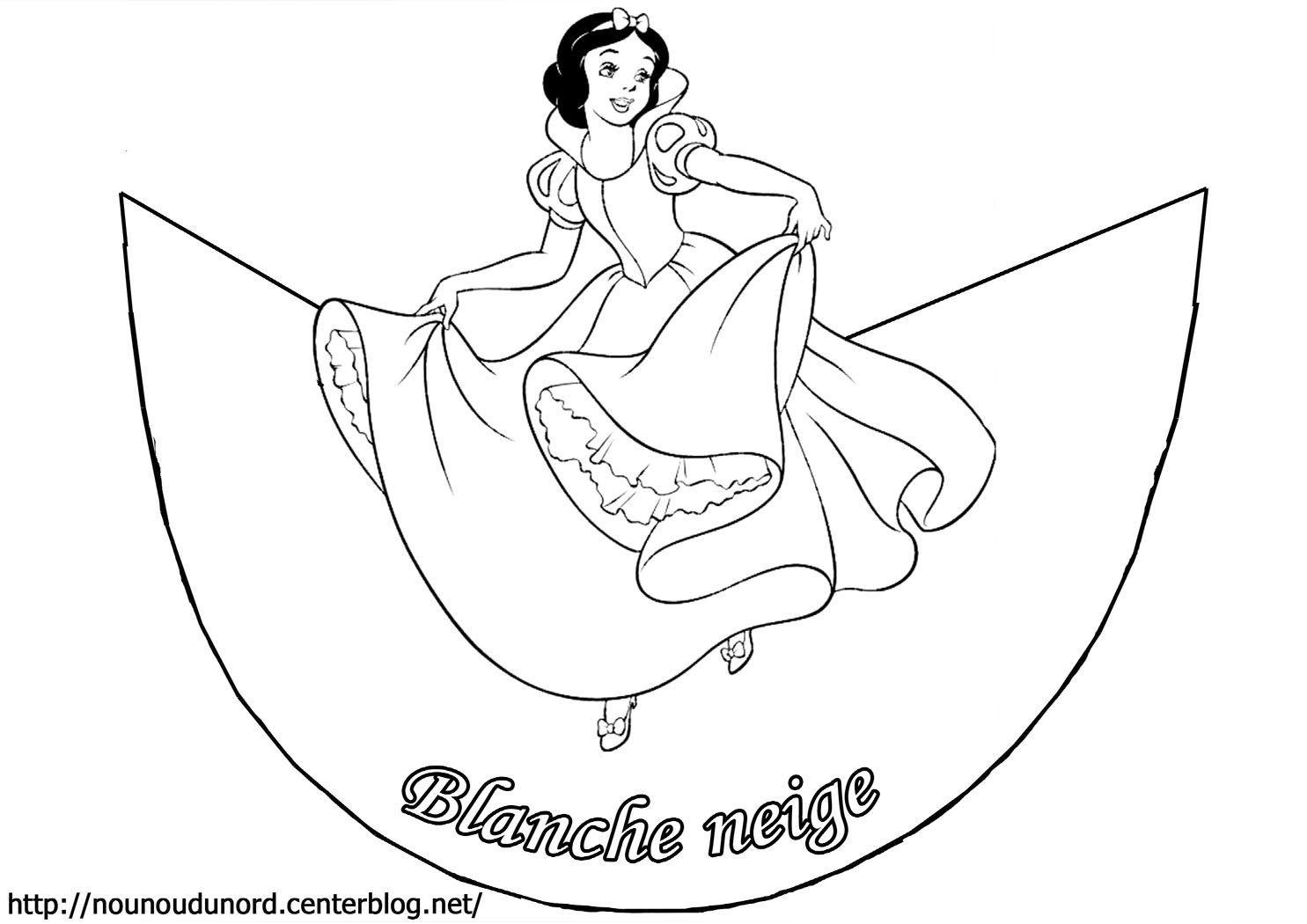 Coloriage Cône Blanche Neige Et Les 7 Nains Avec La Sorcière destiné Blanche Neige À Colorier Et Imprimer