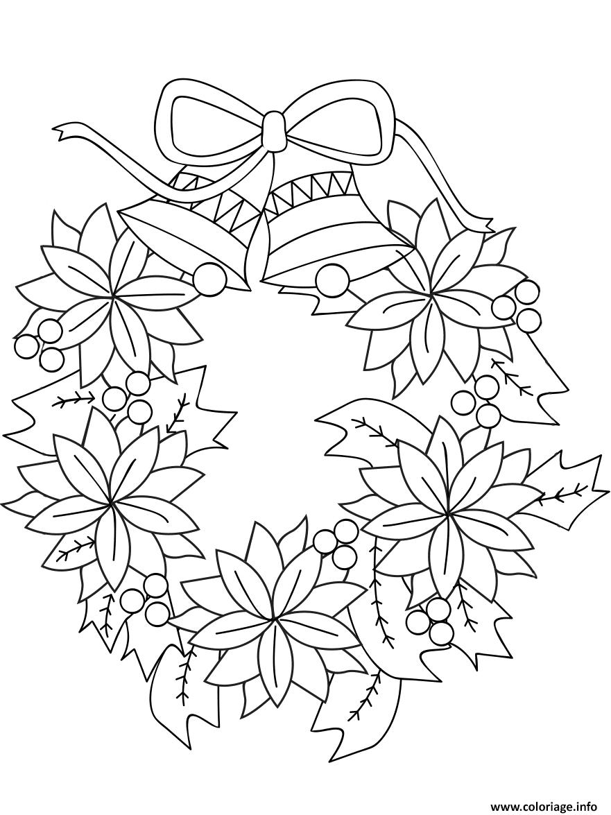 Coloriage Couronne De Noel Avec Fleurs Et Cloches Dessin serapportantà Dessin A Colorier De Fleur
