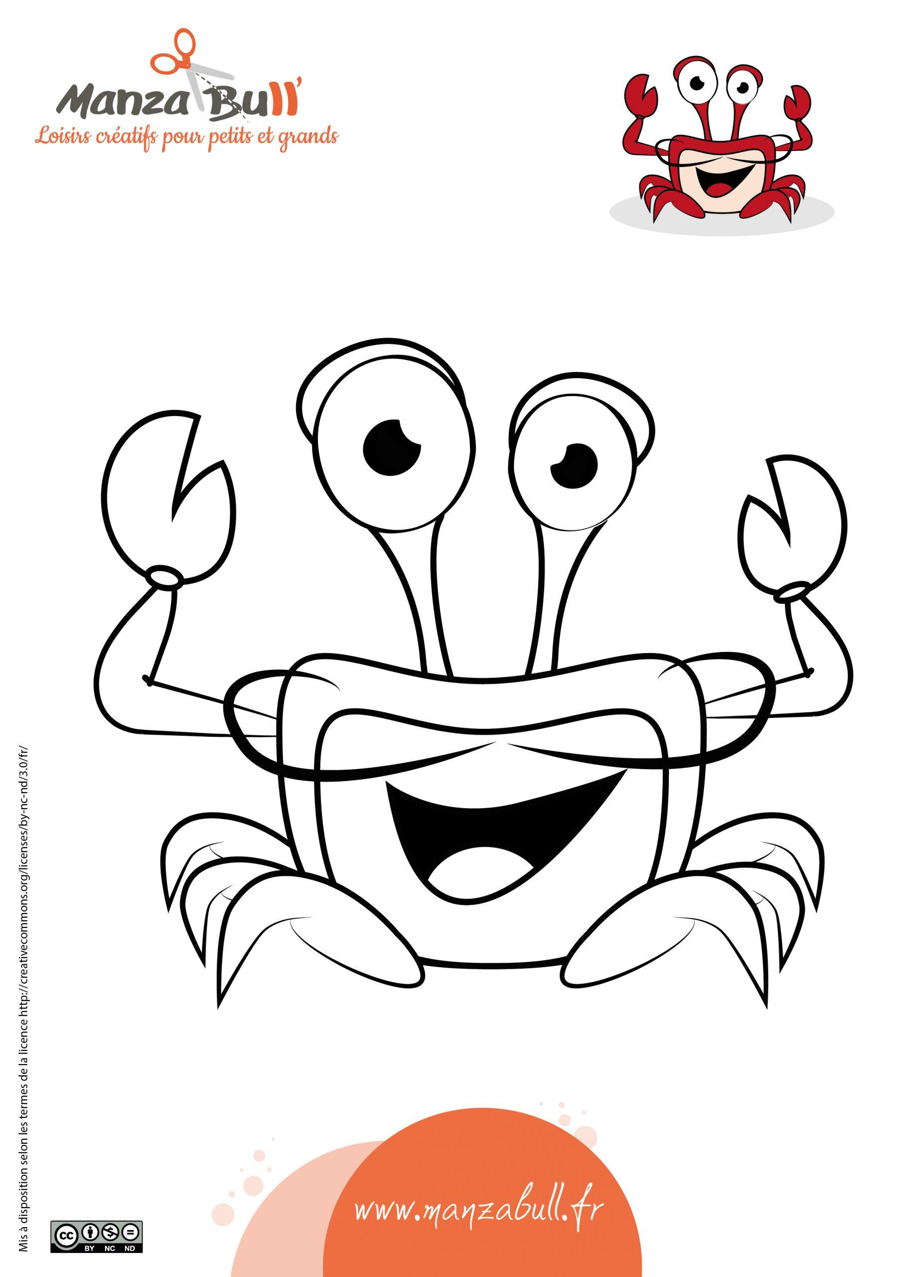 Coloriage Crabe À Imprimer - Manzabull' intérieur Coloriage A4 Imprimer Gratuit