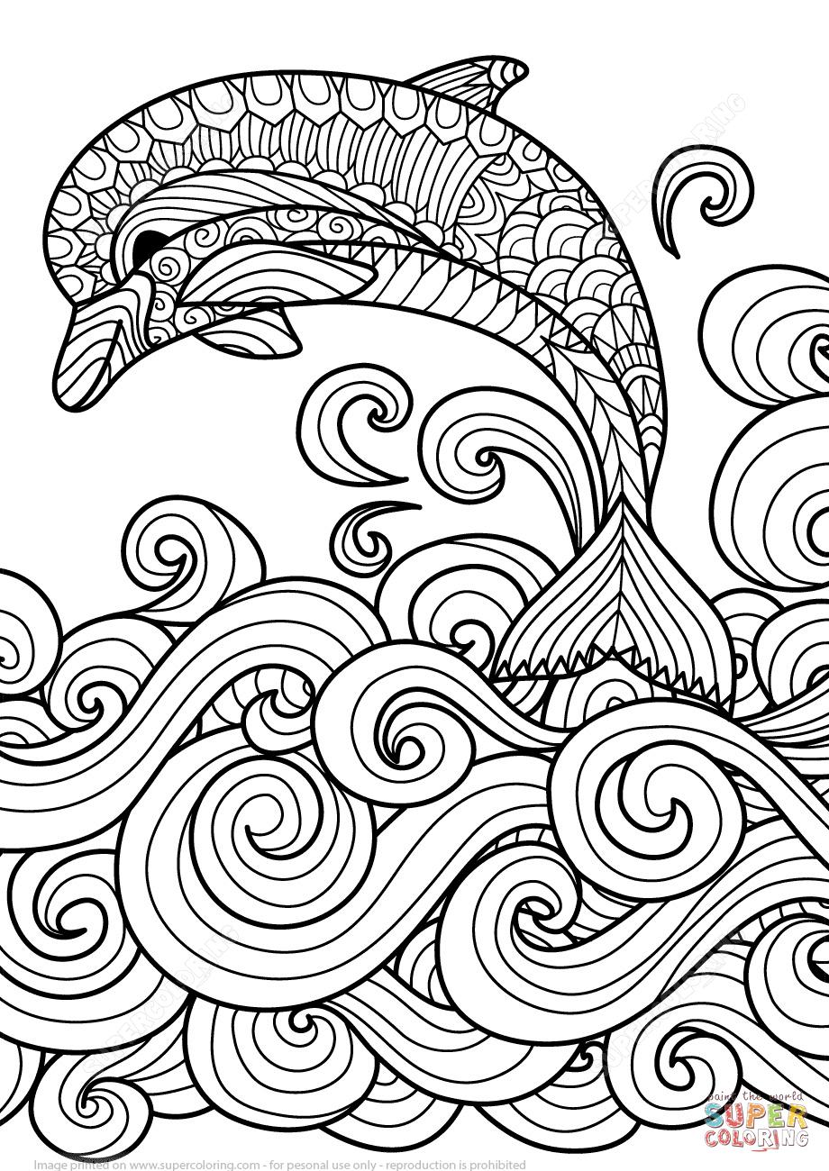 Coloriage - Dauphin Avec La Vague De Mer Défilant En à Dessin De Vague A Imprimer