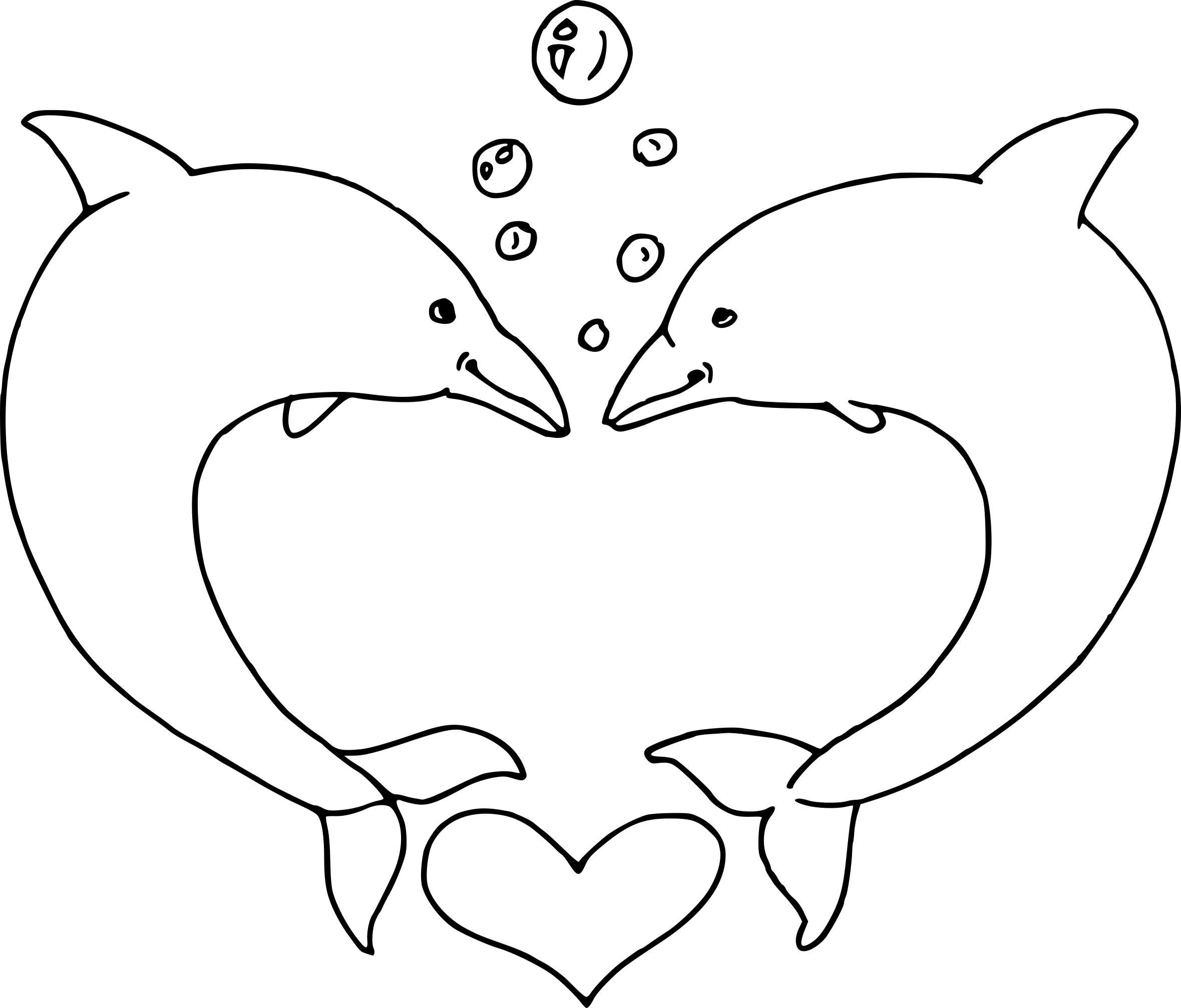 Coloriage Dauphin Cœur À Imprimer Sur Coloriages concernant Dessin Dauphin A Imprimer