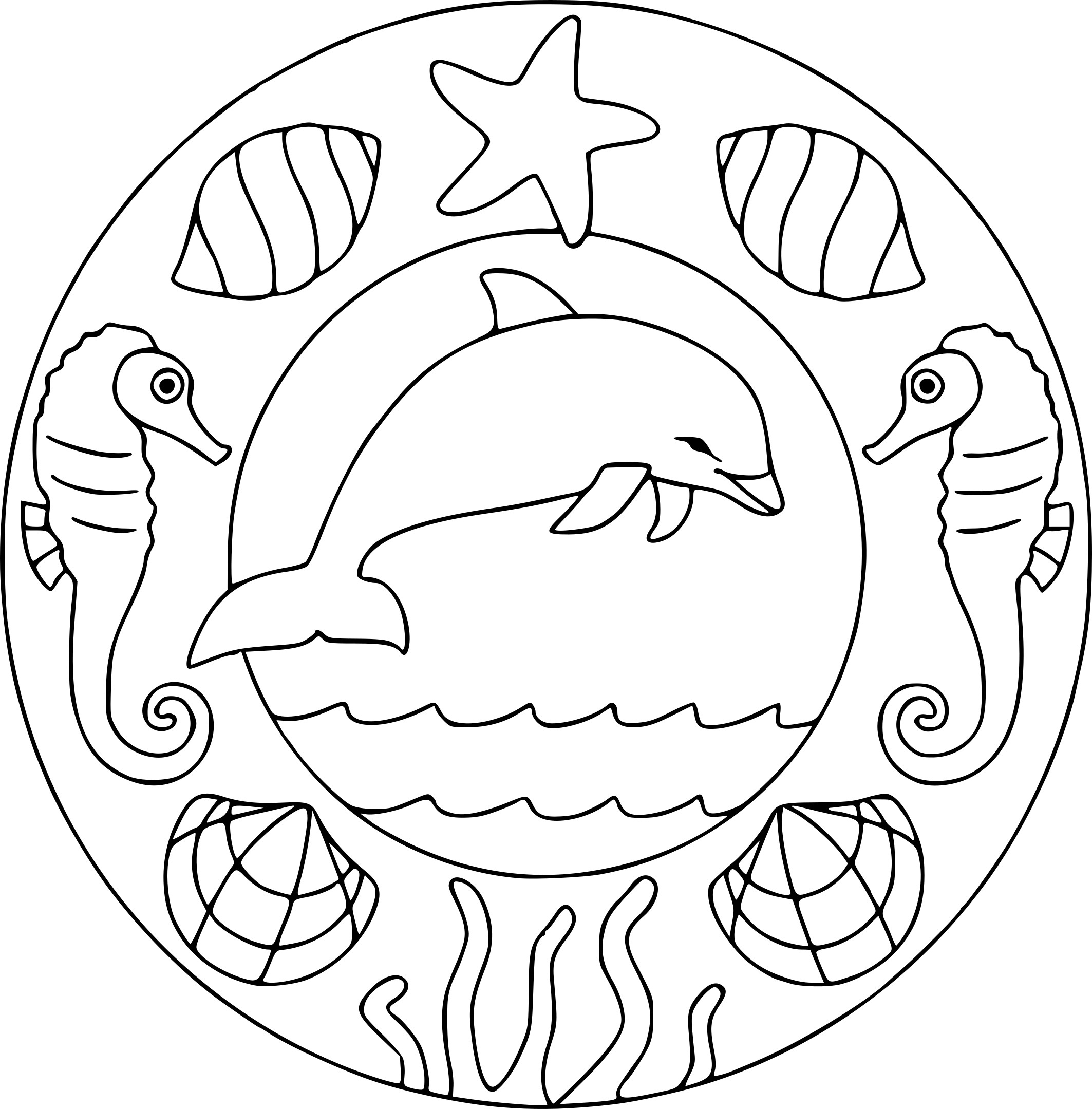 Coloriage Dauphin Mandala Dessin À Imprimer Sur Coloriages concernant Dessin Dauphin À Imprimer