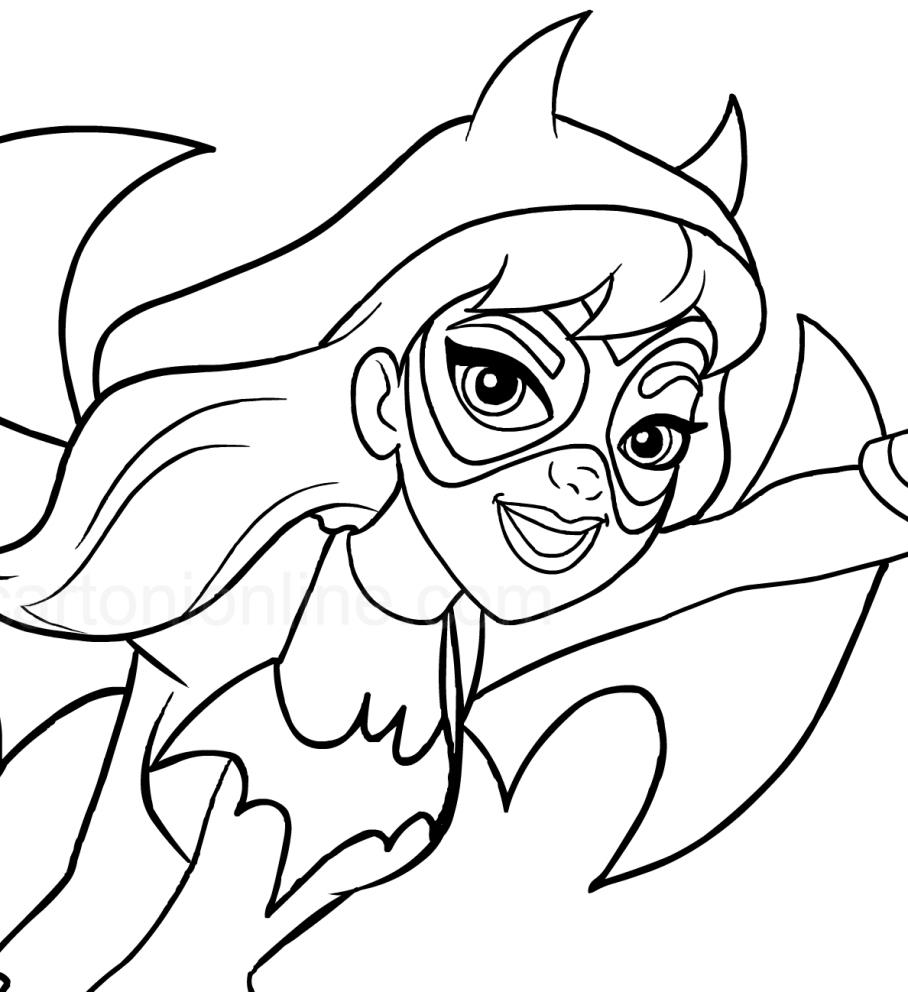 Coloriage De Batgirl (Le Visage) (Dc Superhero Girls) serapportantà Visage À Colorier
