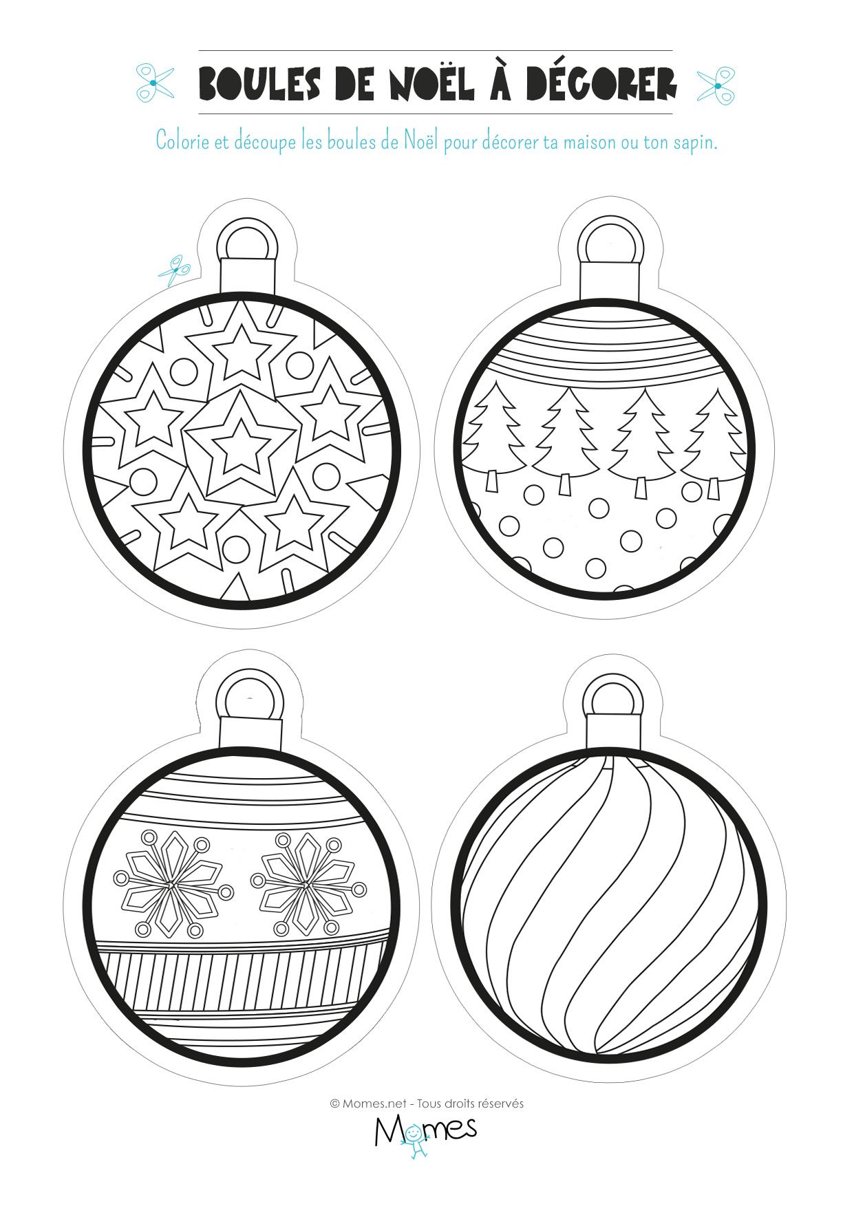 Coloriage De Boules De Noël - Momes destiné Dessin A Decouper Et A Imprimer