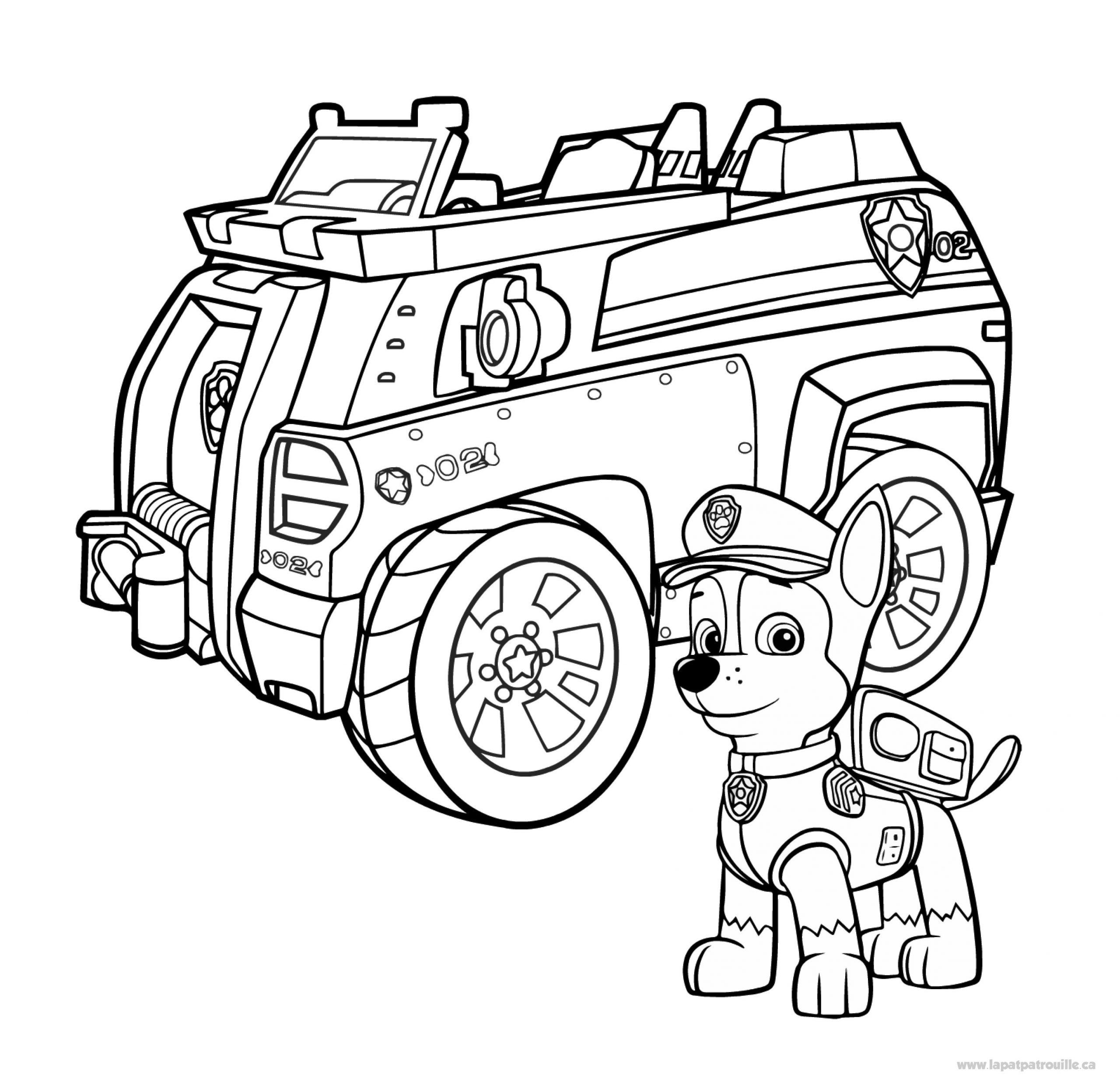 Coloriage De Chase Et Son Camion De Police – La Pat' Patrouille concernant Dessin D Un Camion