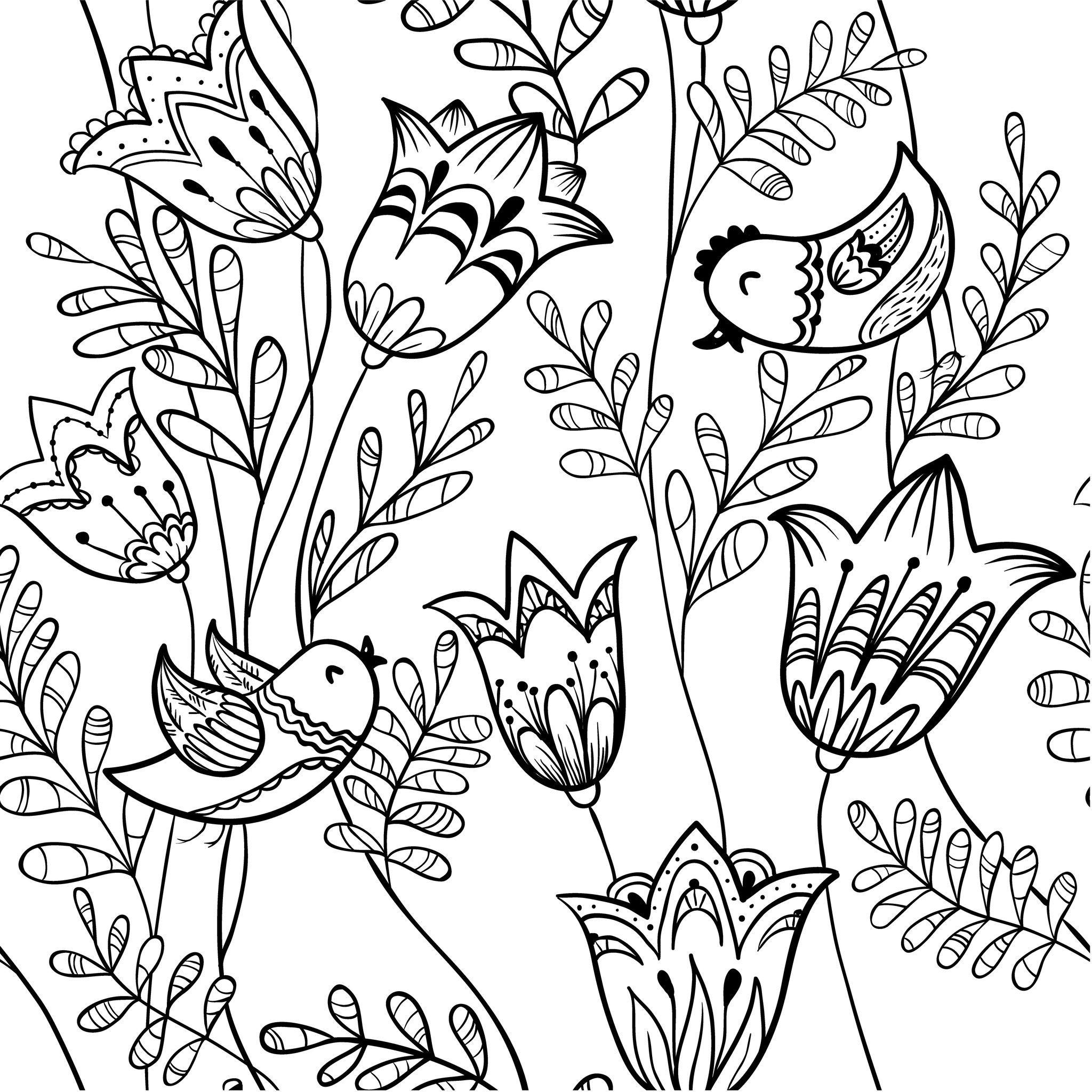 Coloriage De Fleurs De Printemps - Oiseau Et Clochette serapportantà Dessin A Colorier De Fleur