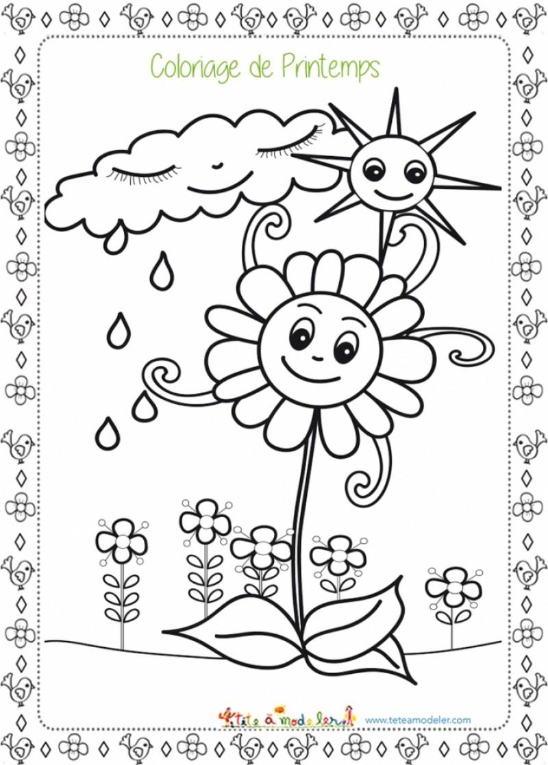 Coloriage De La Pluie Et Du Beau Temps - Coloriage Printemps concernant Dessin Printemps Paysage