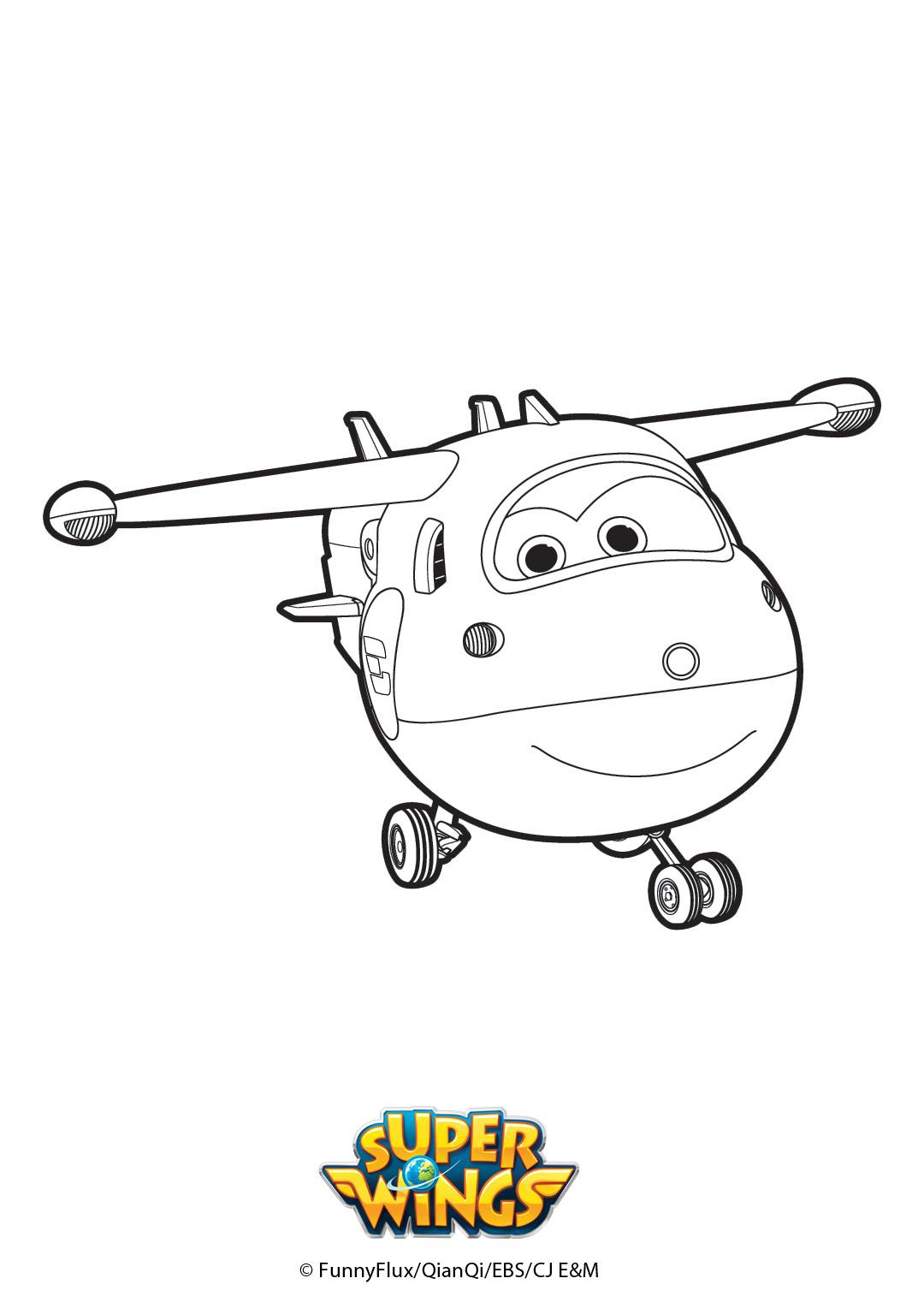 Coloriage De L'avion Jett - Super Wings à Personnage A Colorier
